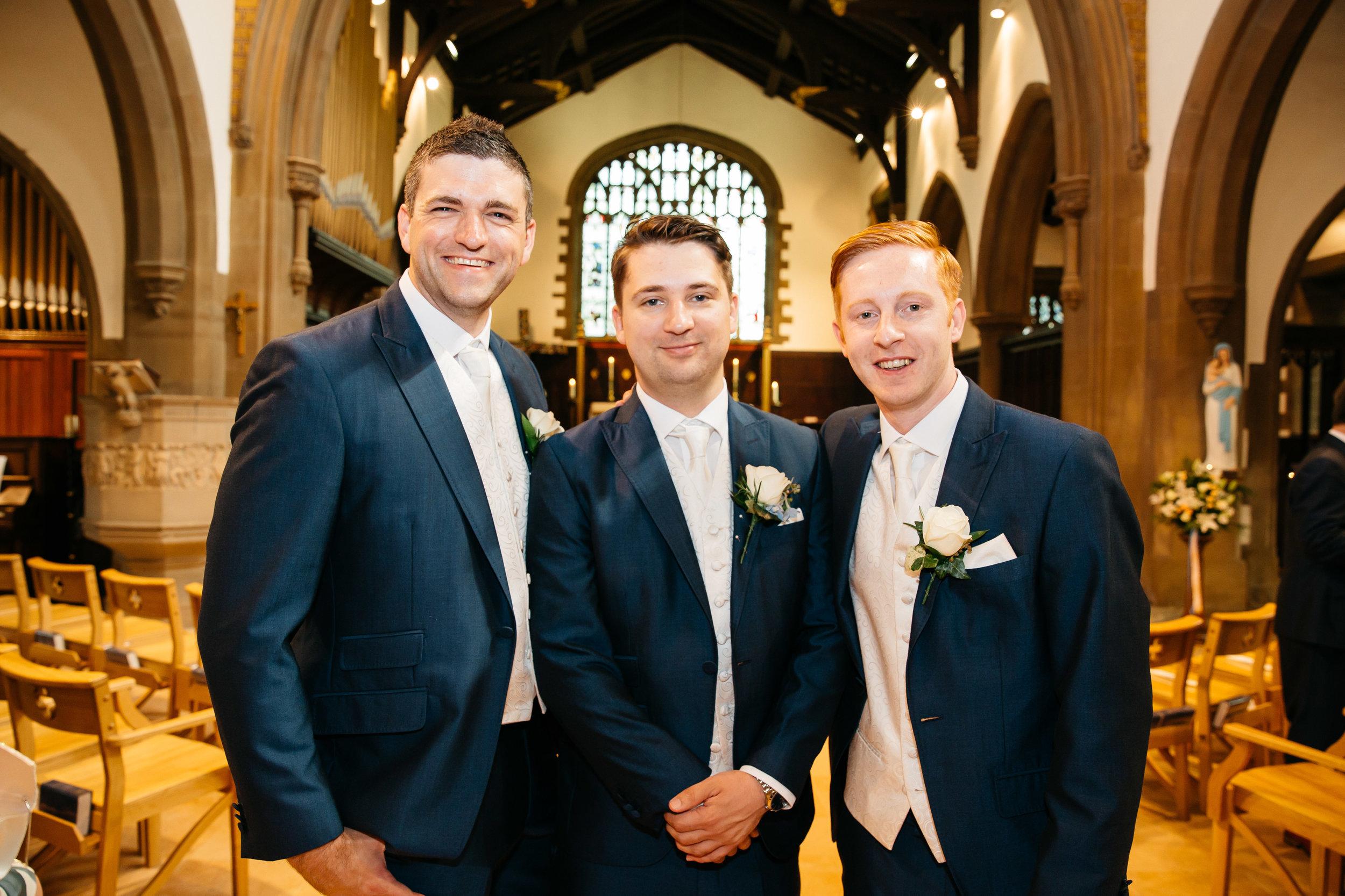 Groom and Best Men at church Leeds