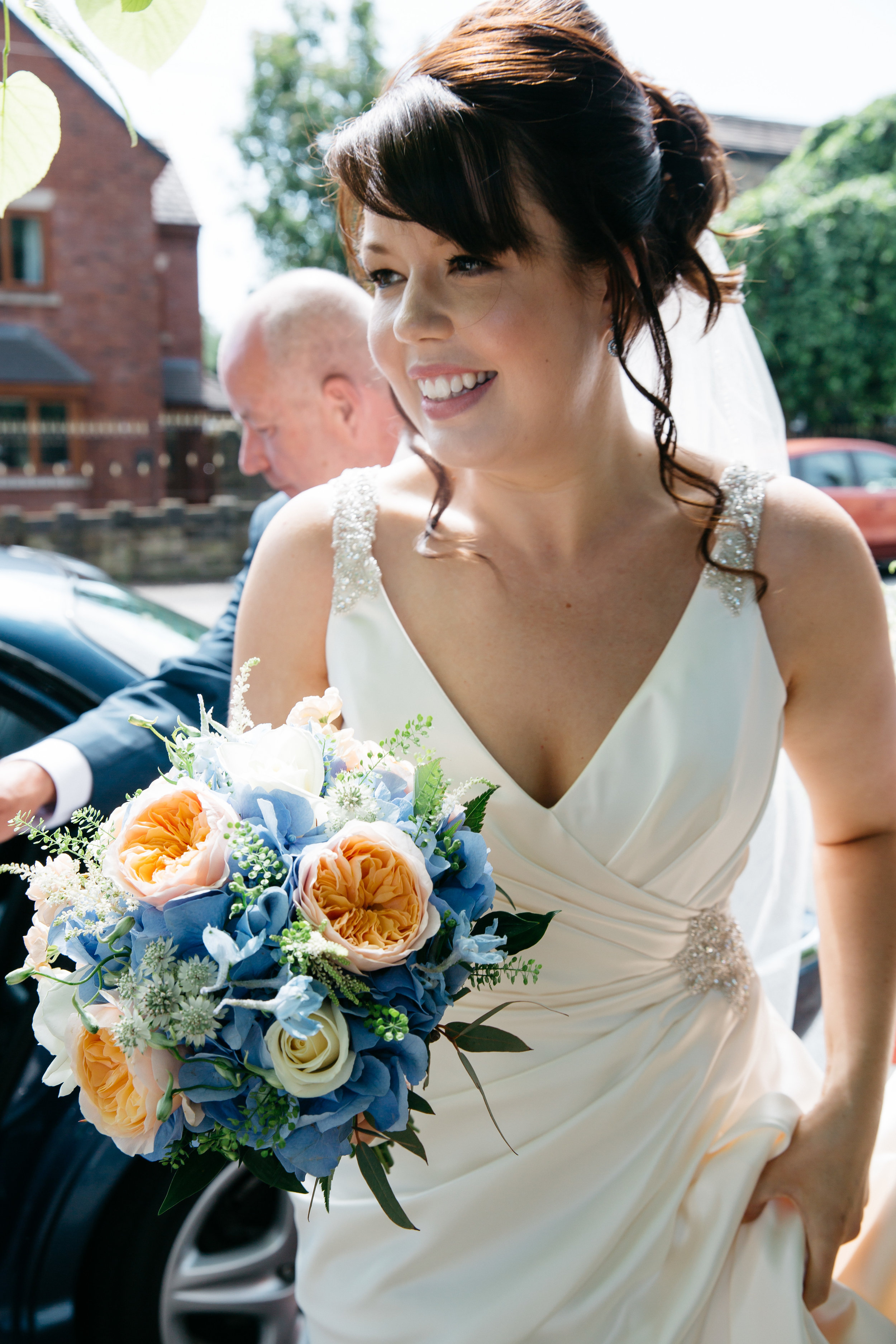 Bride arriving at church in Leeds
