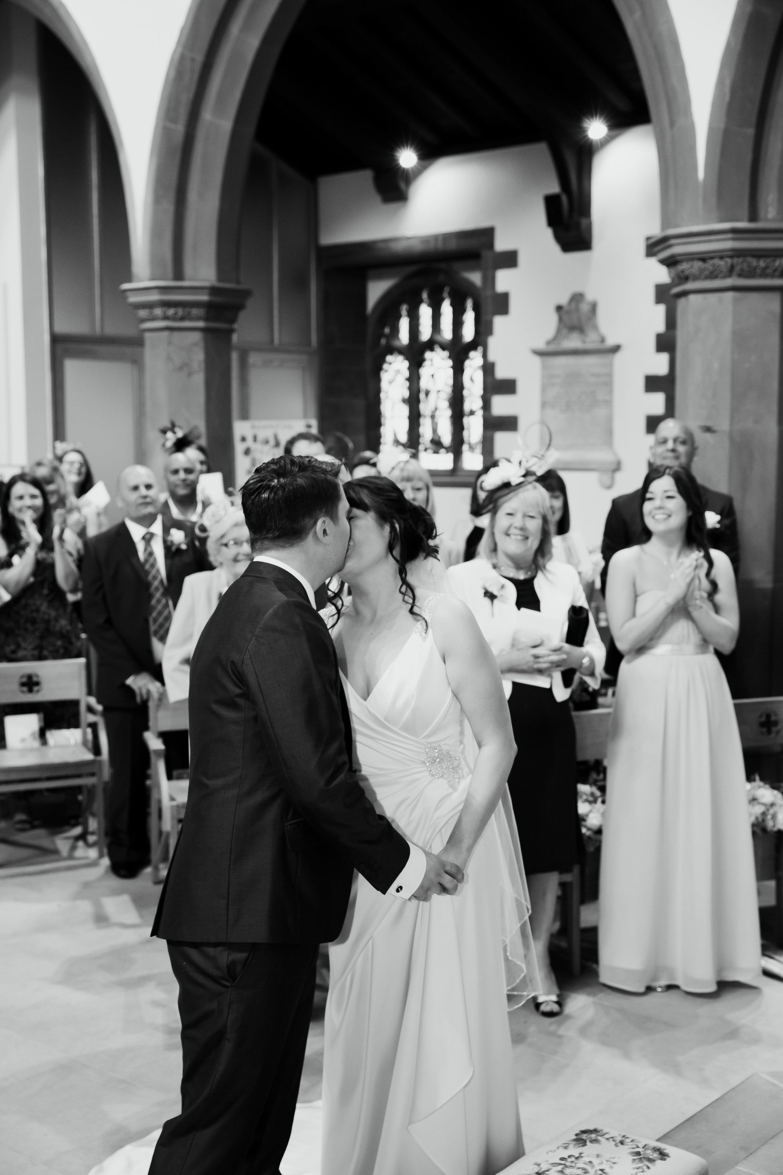 Wedding Kiss bride and groom