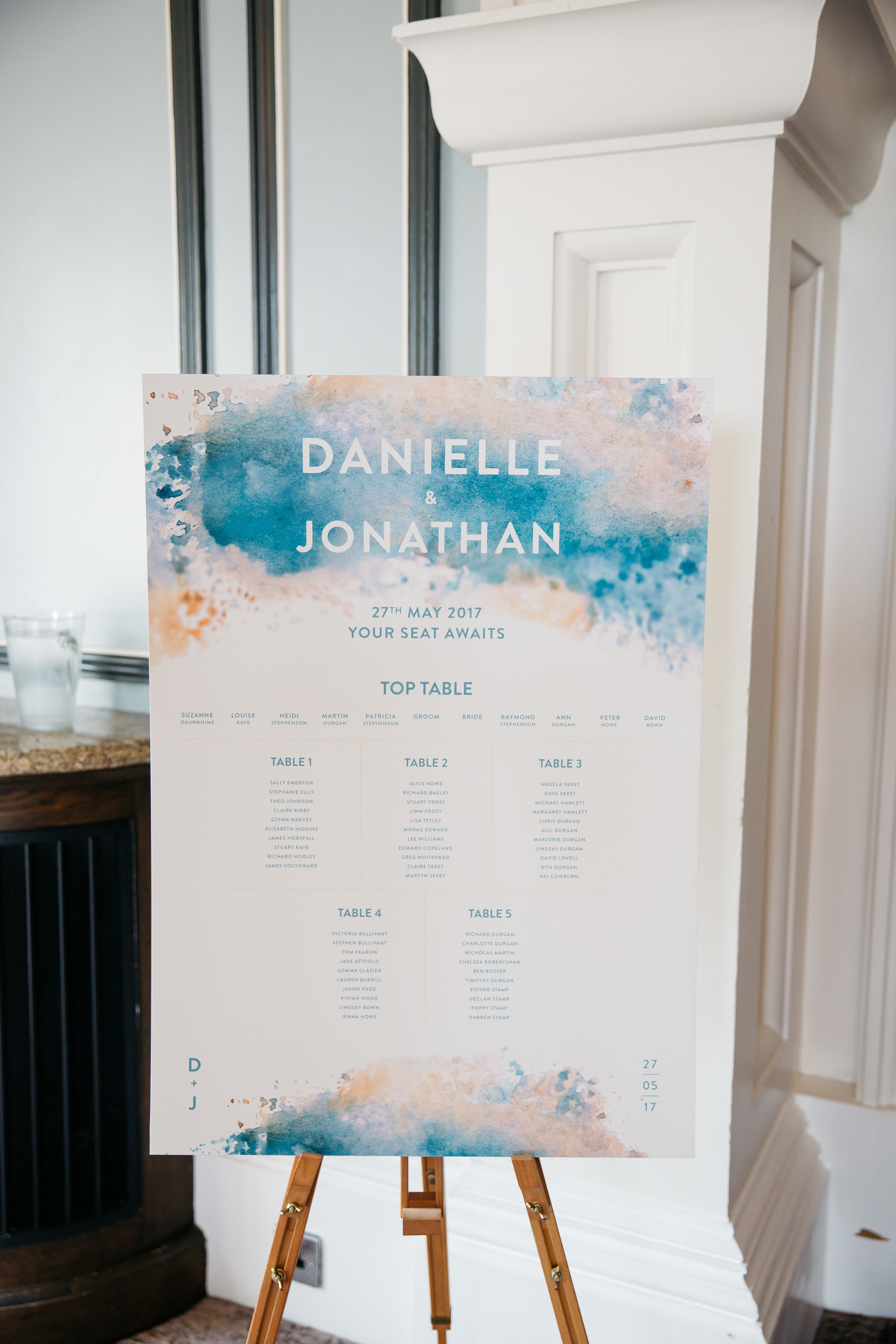 Wedding Table Plan at Oulton Hall Leeds