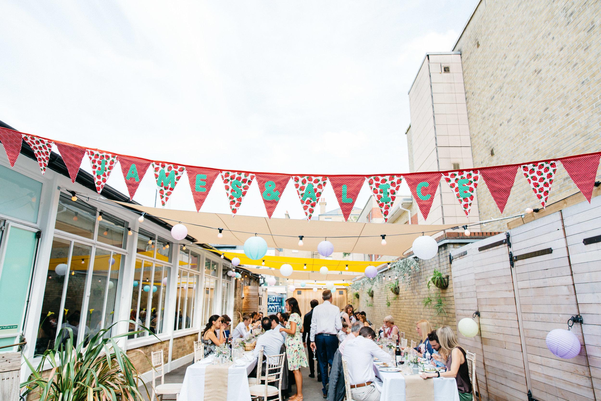 Alice & James Bunting London Outdoor Wedding