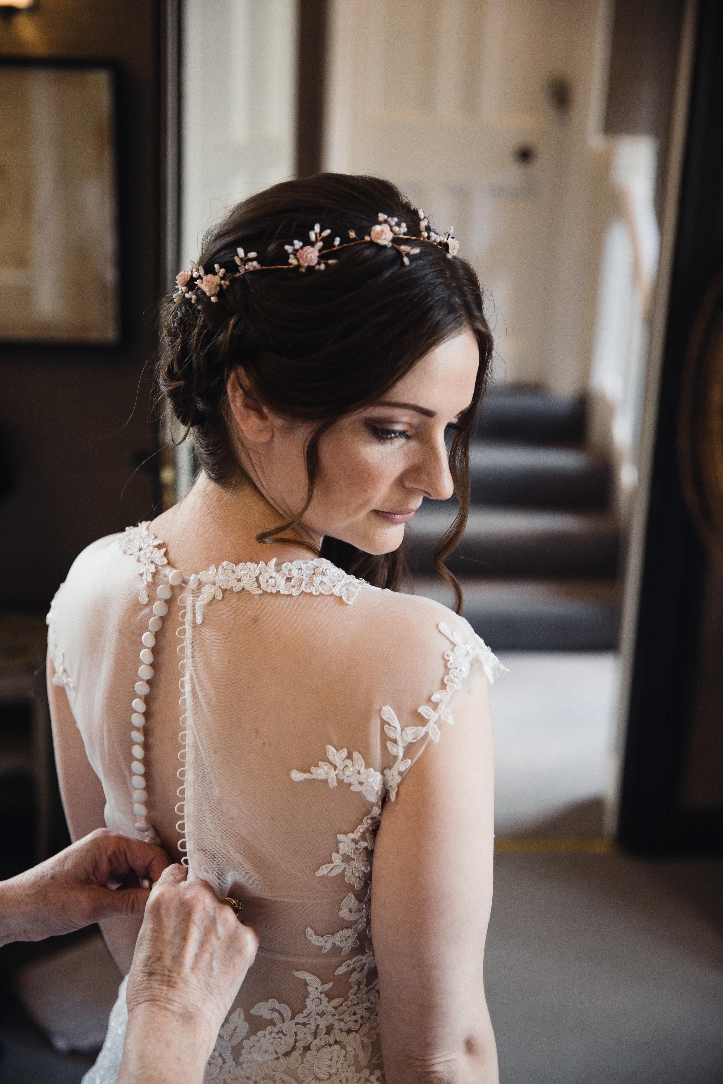 Bride in wedding dress at Falcon Manor Wedding Photography Yorkshire