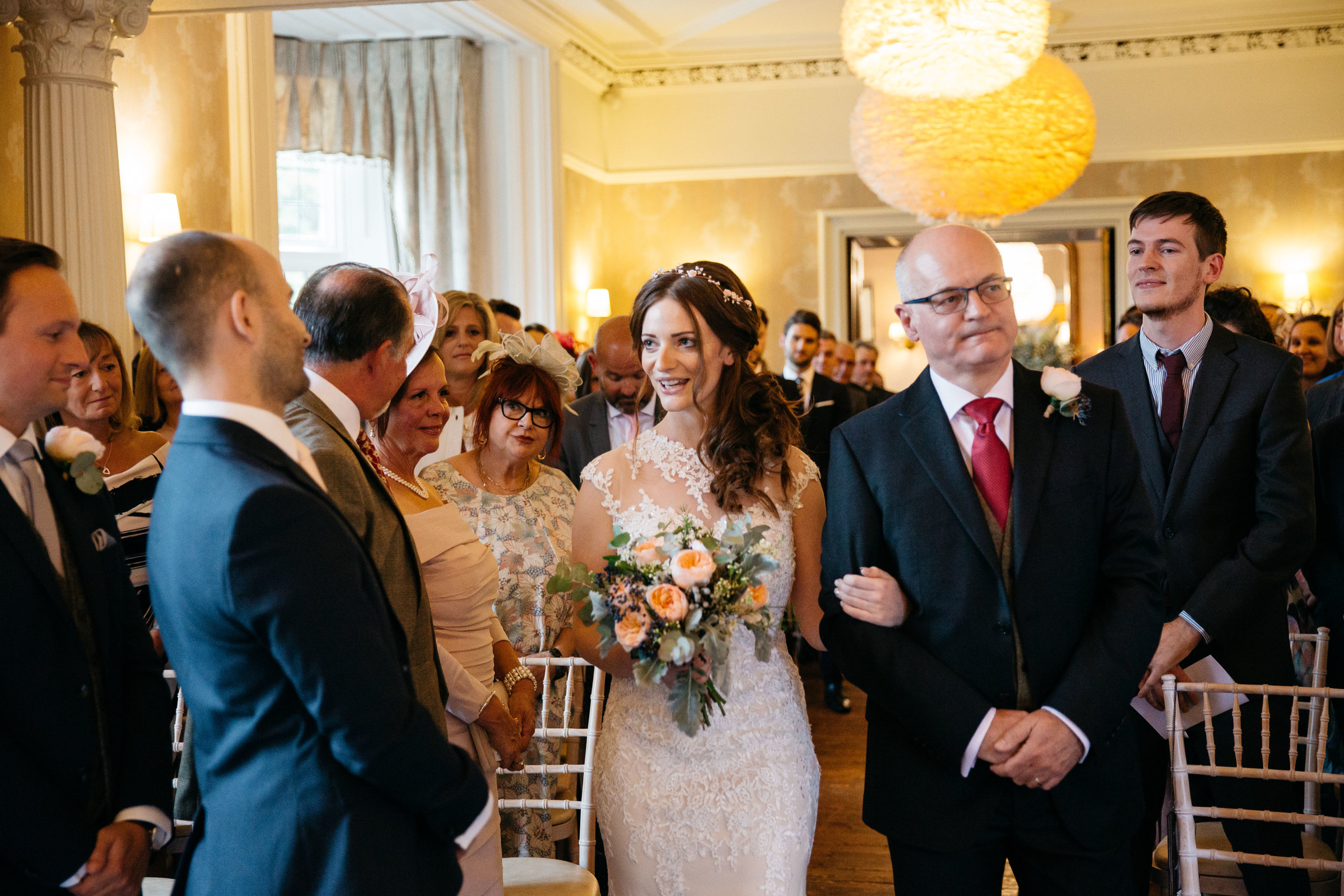 The first look bride and groom at Falcon Manor Wedding Photography Yorkshire
