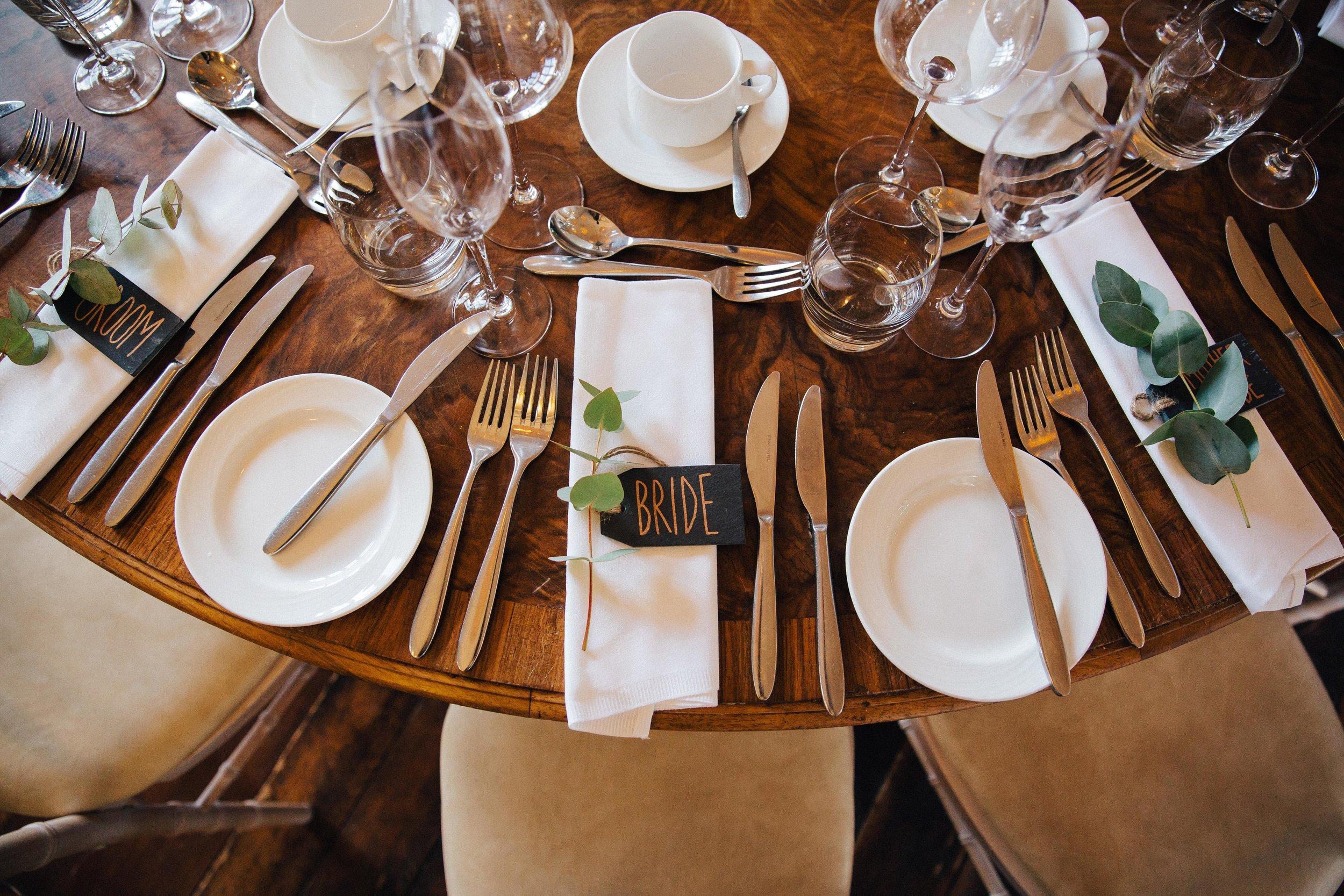 WEdding table settings at Falcon Manor Wedding Photographer Yorkshire