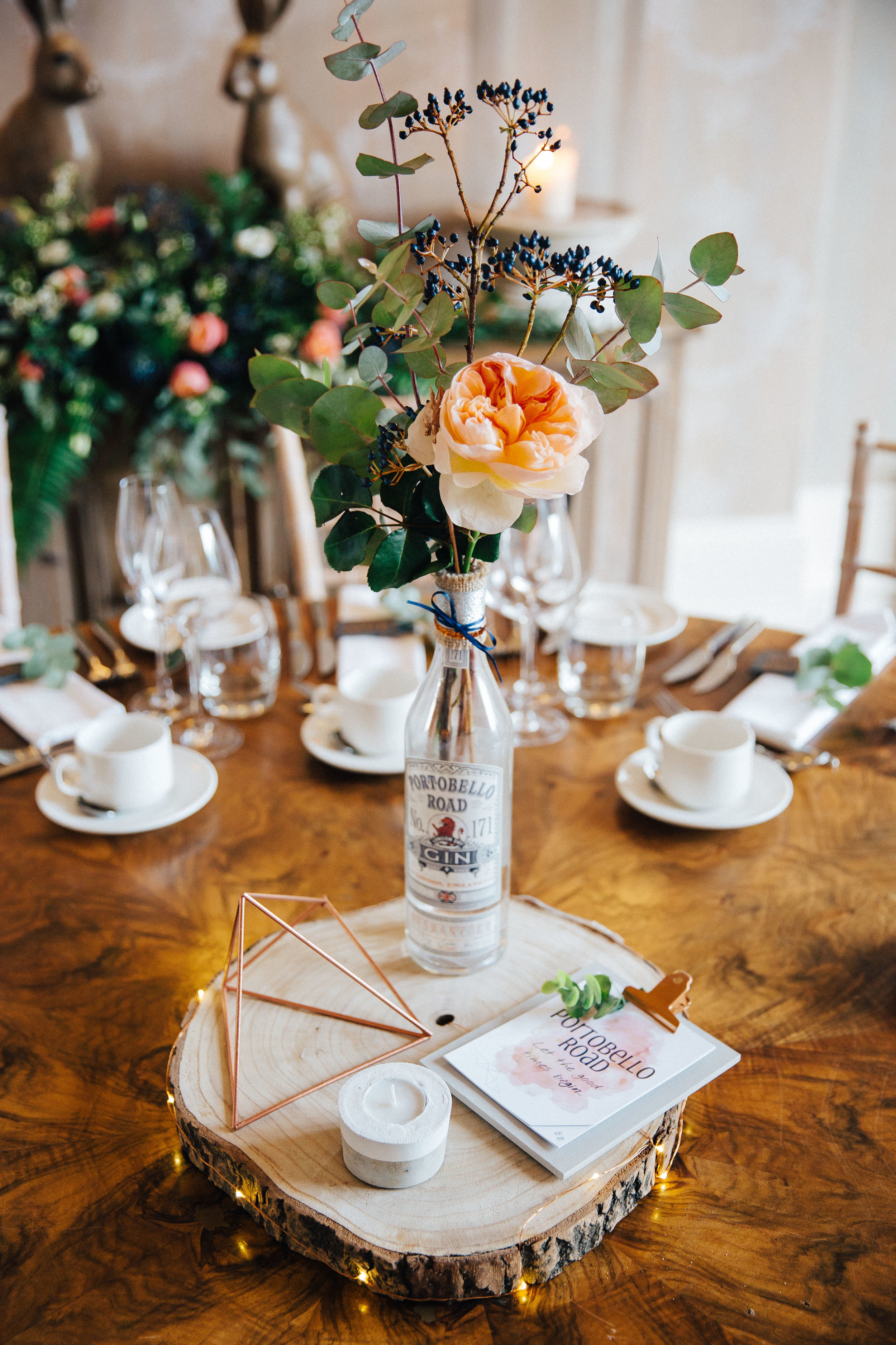 Gin themed wedding table at Falcon Manor Wedding Photographer Yorkshire