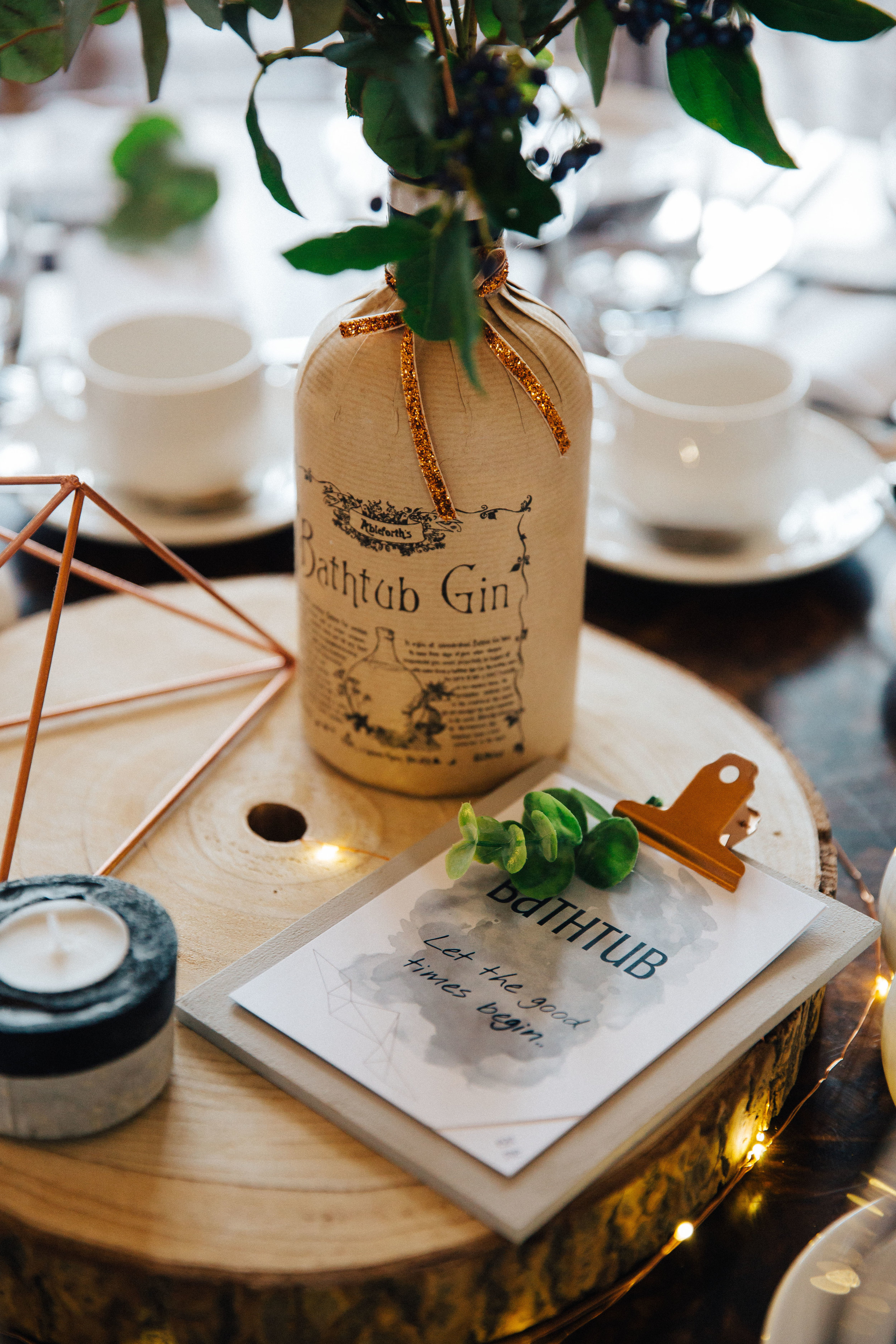 Gin themed wedding table decorations at Falcon Manor Wedding Photographer Yorkshire
