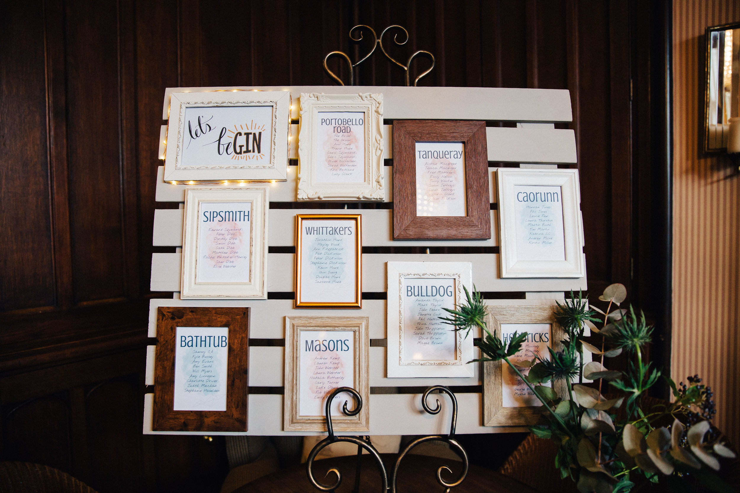 Gin themed wedding table plan at Falcon Manor Wedding Photographer Yorkshire