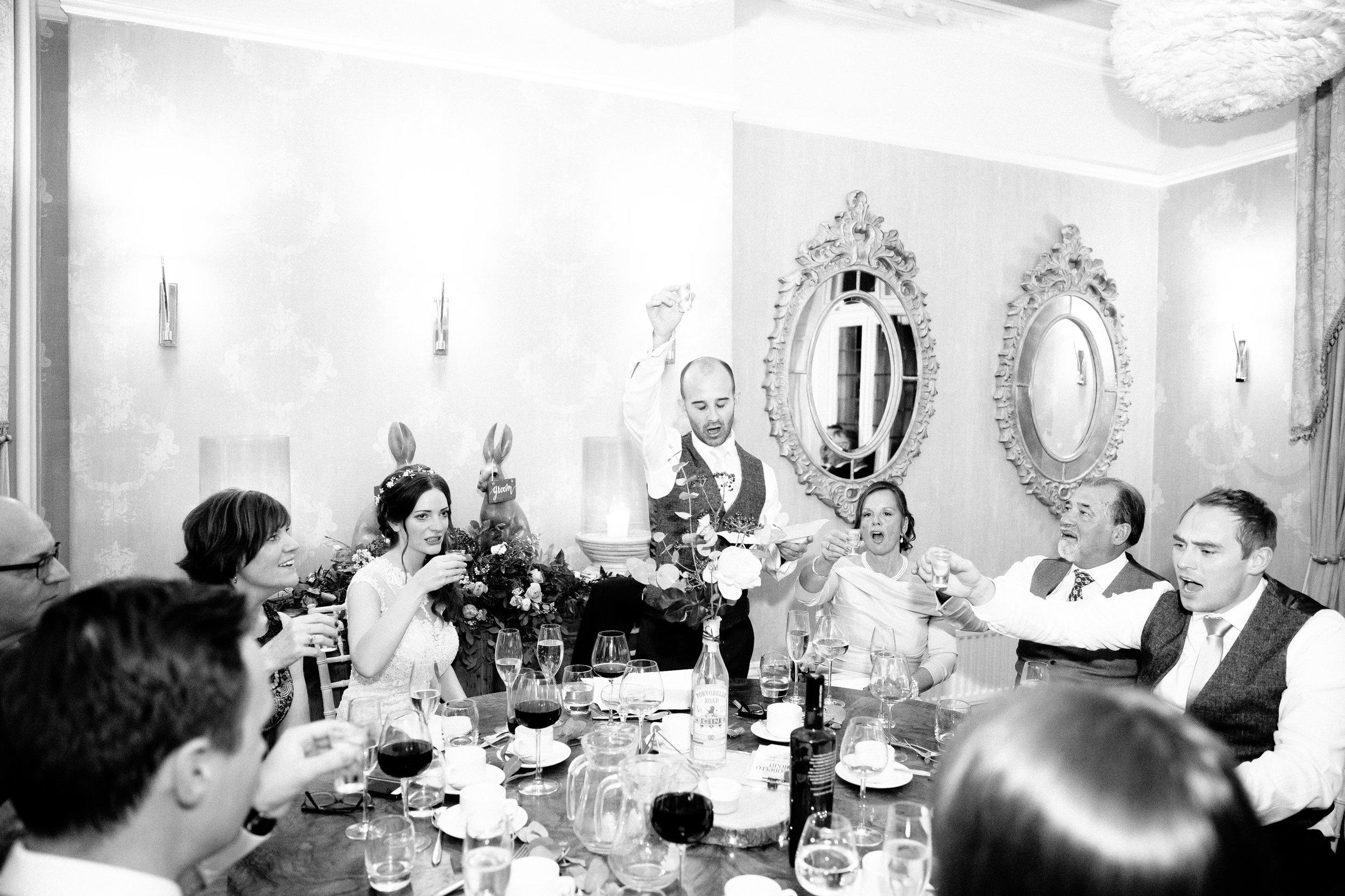 Polish wedding vodka shot at Falcon Manor Wedding Photographer Yorkshire