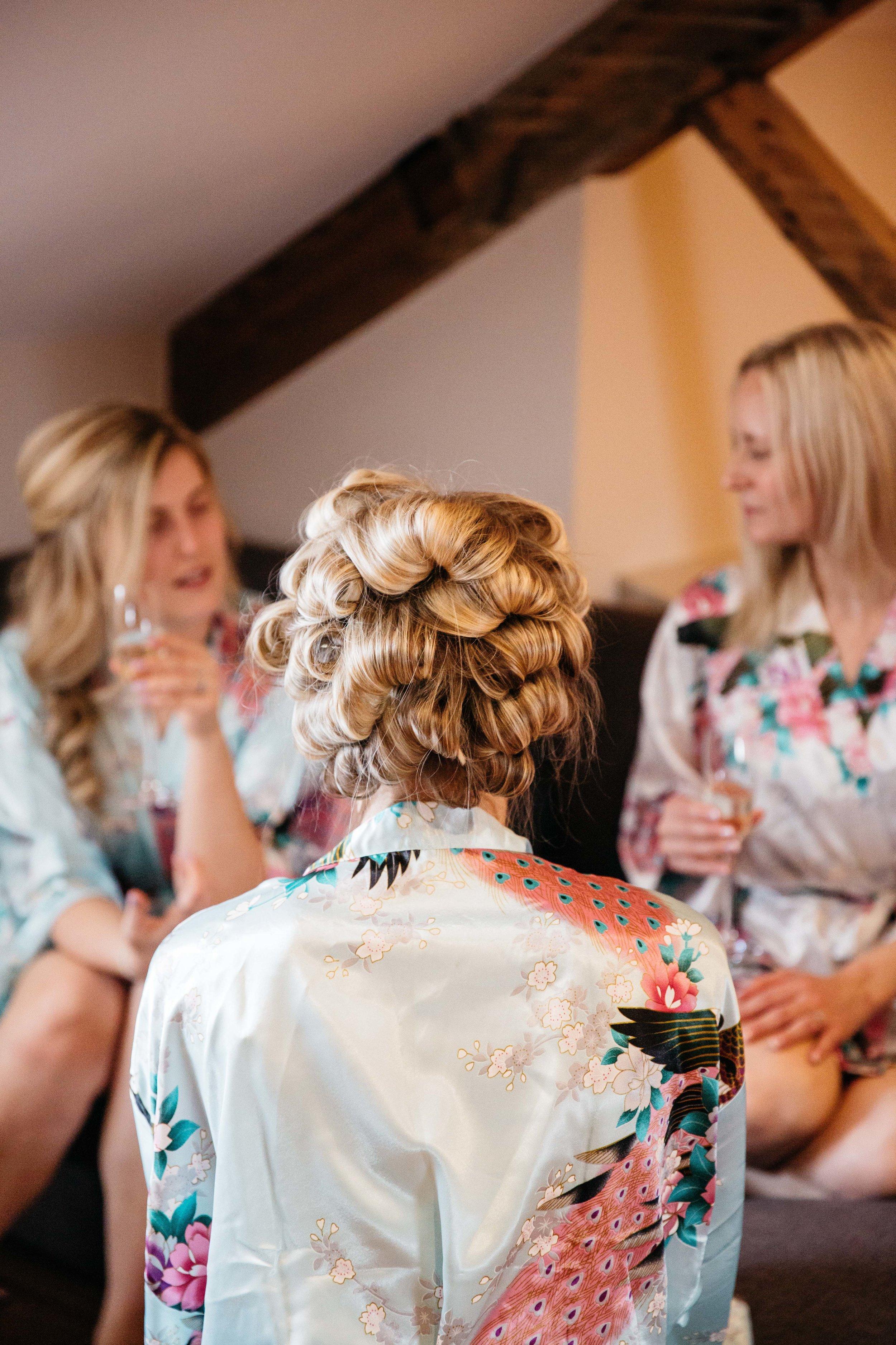 Bridesmaid Hair and makeup getting ready at Hotel Du Vin Harrogate