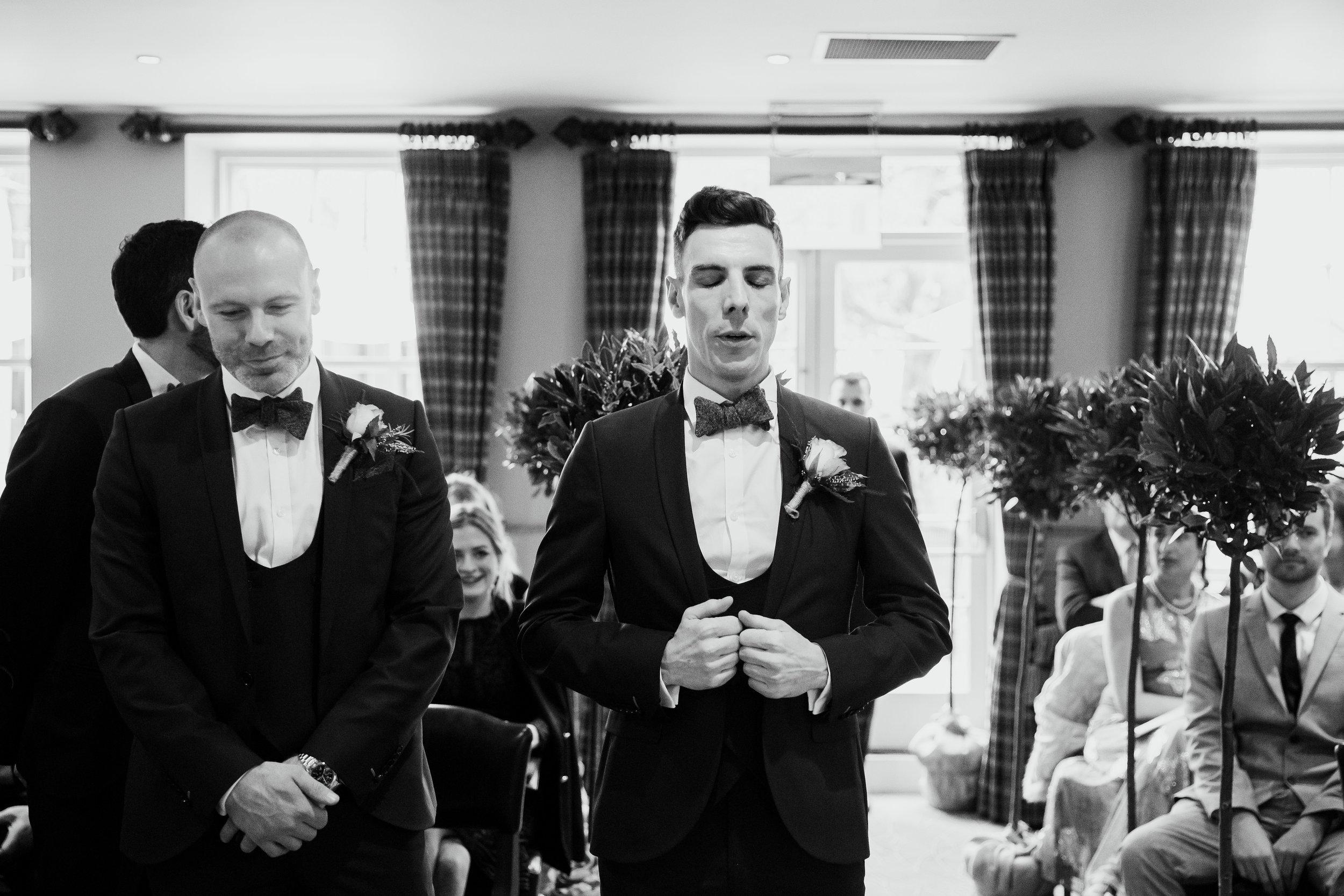 Groom waiting for bride at Hotel Du Vin Harrogate