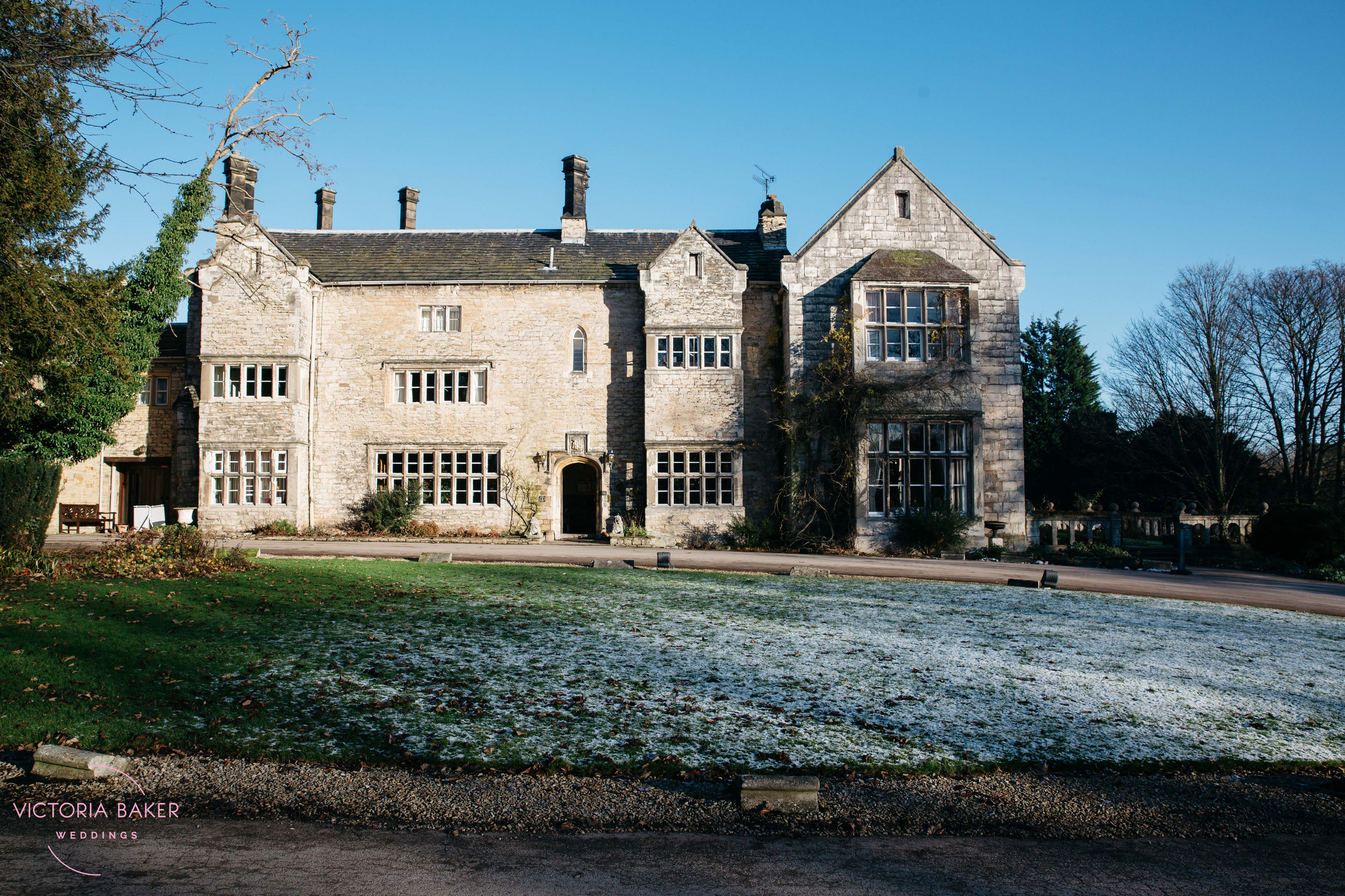 Monk Fryston Hall in Leeds in snow | Wedding photographer Leeds