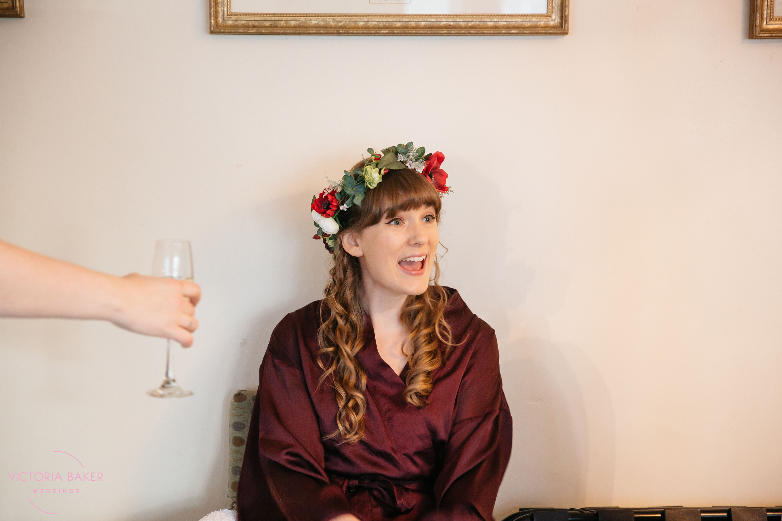 Bride and Champagne at Monk Fryston Hall | Wedding photographer Leeds