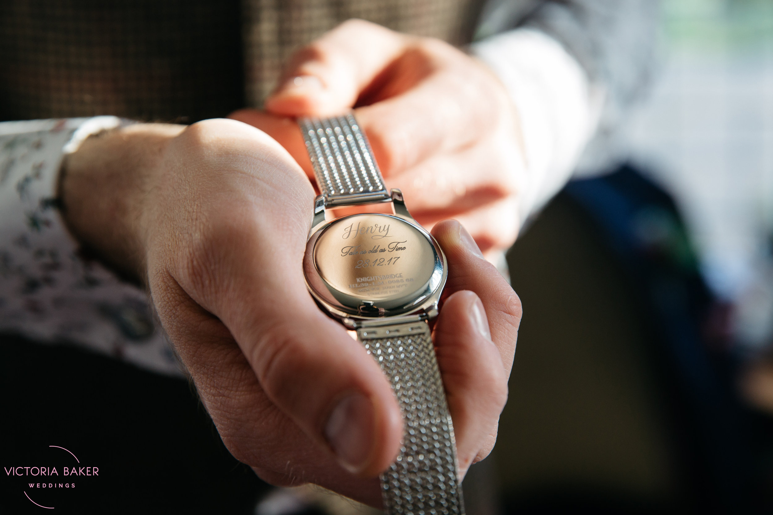 Groom's wedding present - a watch at Monk Fryston Hall | Wedding photographer Leeds
