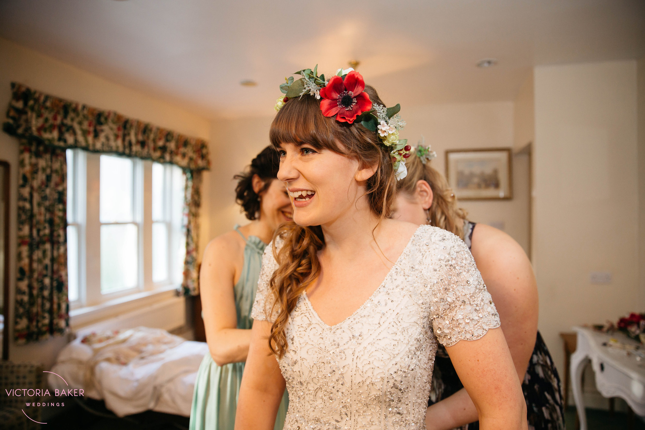 Bride in wedding dress at Monk Fryston Hall | Wedding photographer Leeds