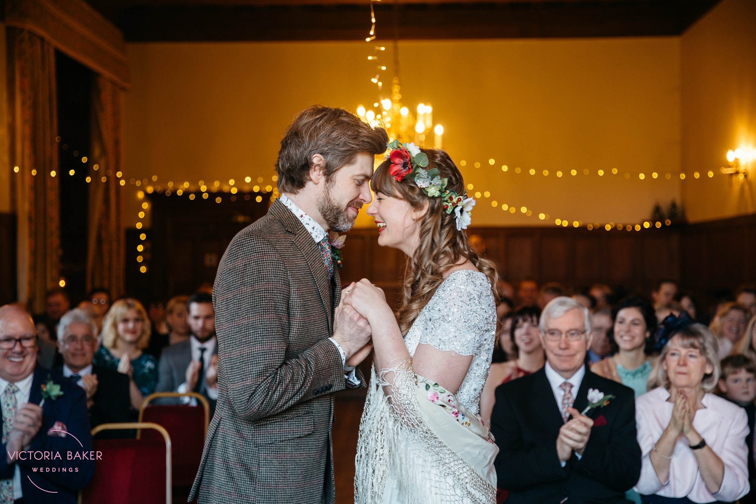 Bride and Groom kiss at Monk Fryston Hall | Wedding photographer Leeds