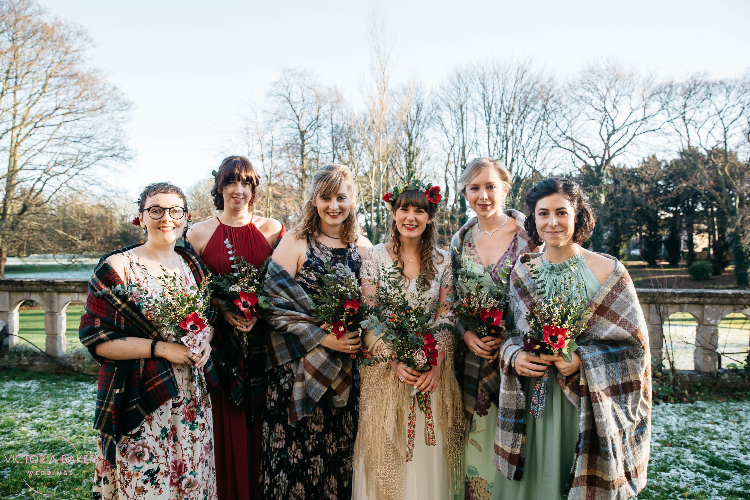 Bride and her bridesmaids at Monk Fryston Hall | Wedding photographer Leeds