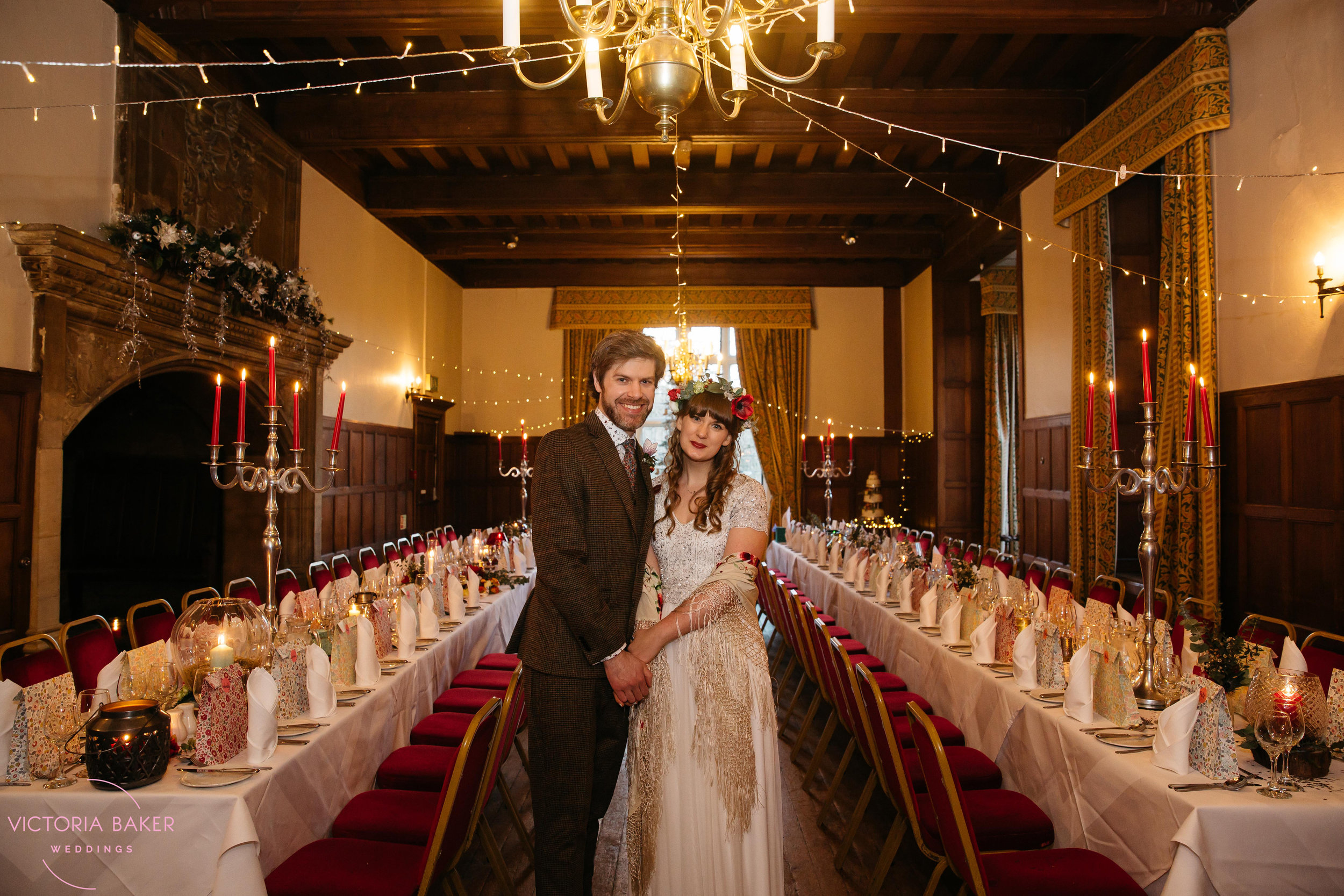 Bride & Groom in dining room at Monk Fryston Hall Wedding photographer Leeds