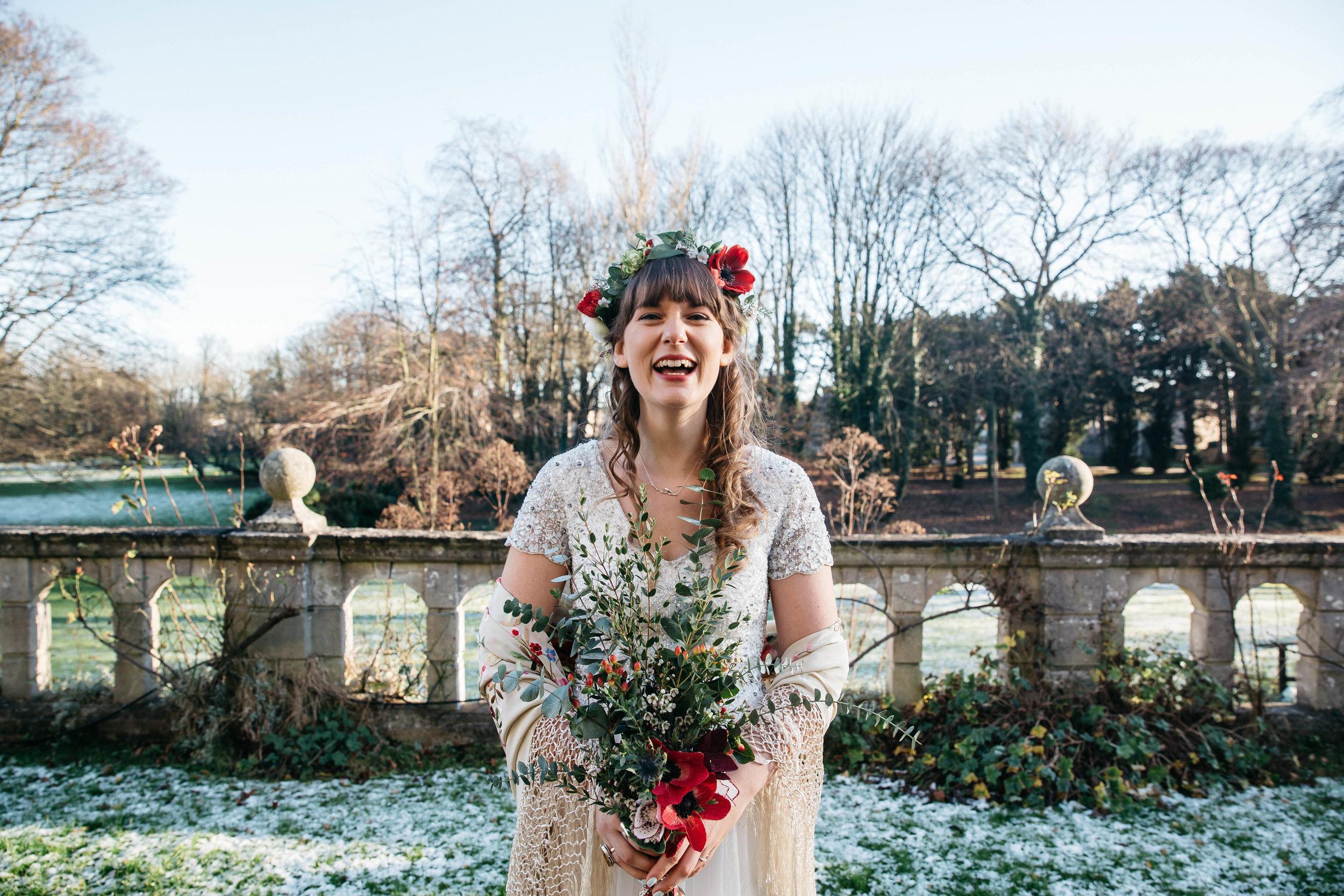 Boho bride at Monk Fryston Hall