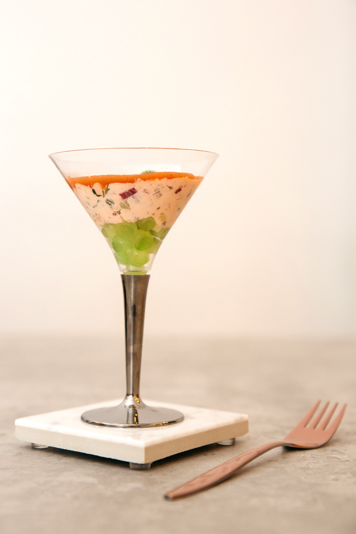 Fish starter in martini glass