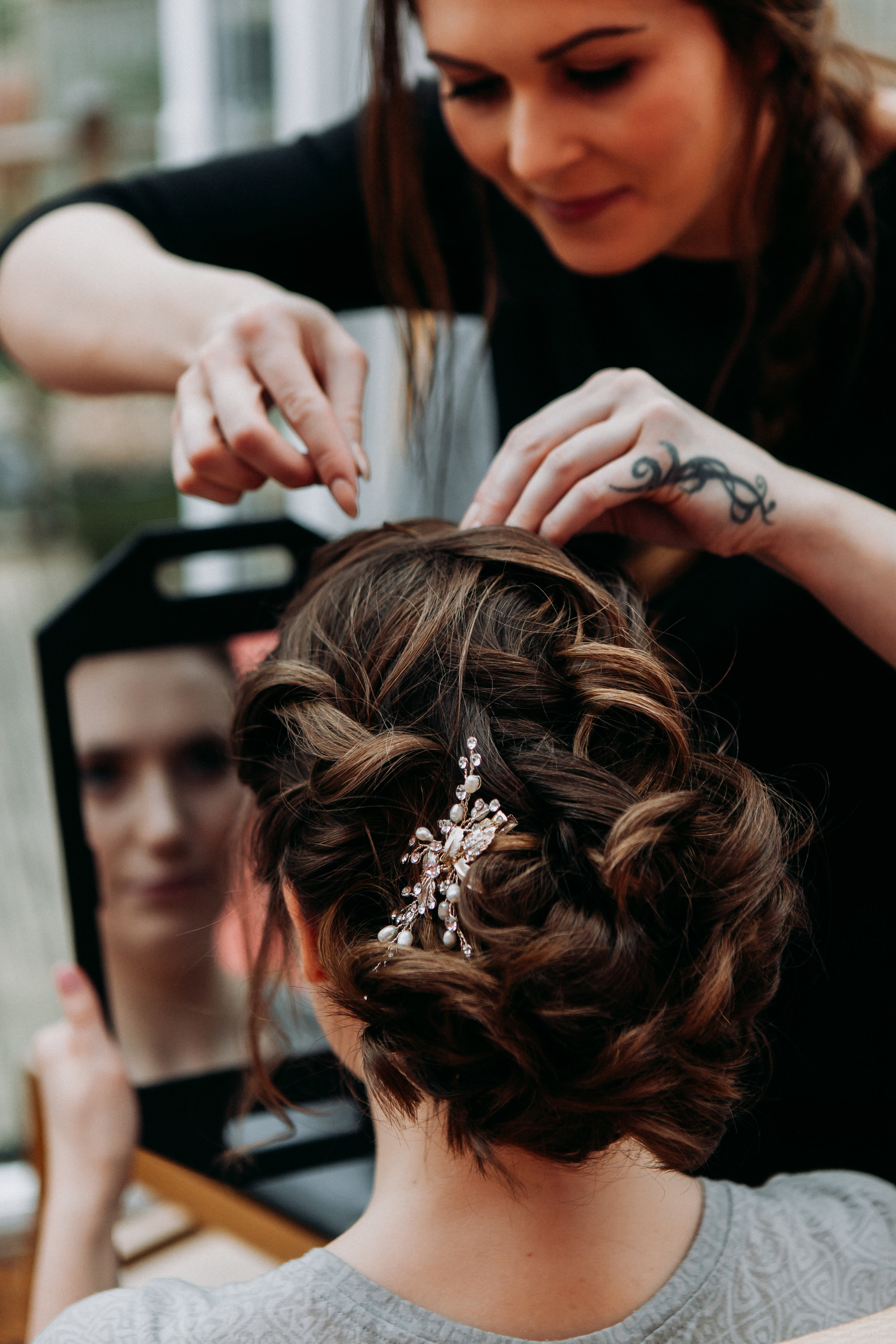 Hannah in hair and make up at The Chilterns wedding