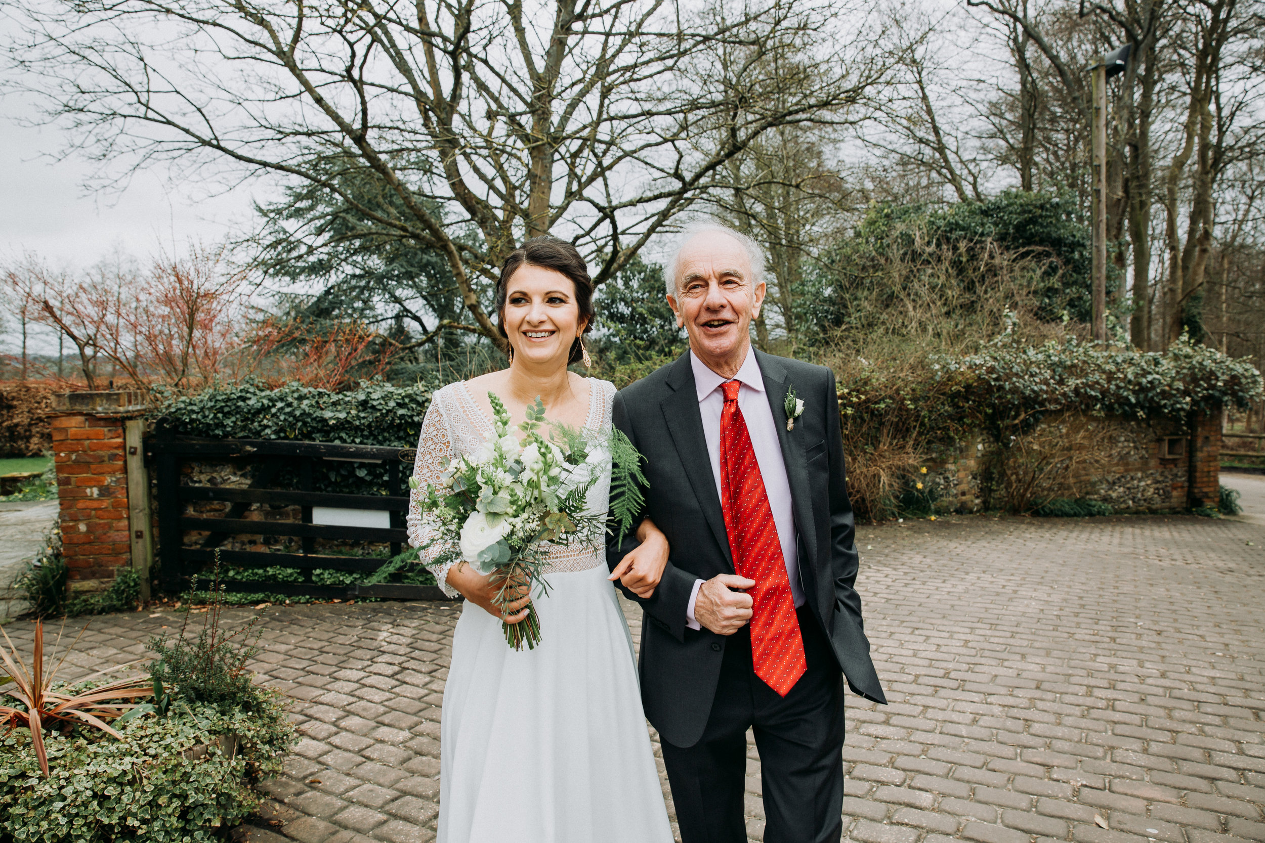 Father and bride at Old Luxter's Barn at The Chilterns wedding