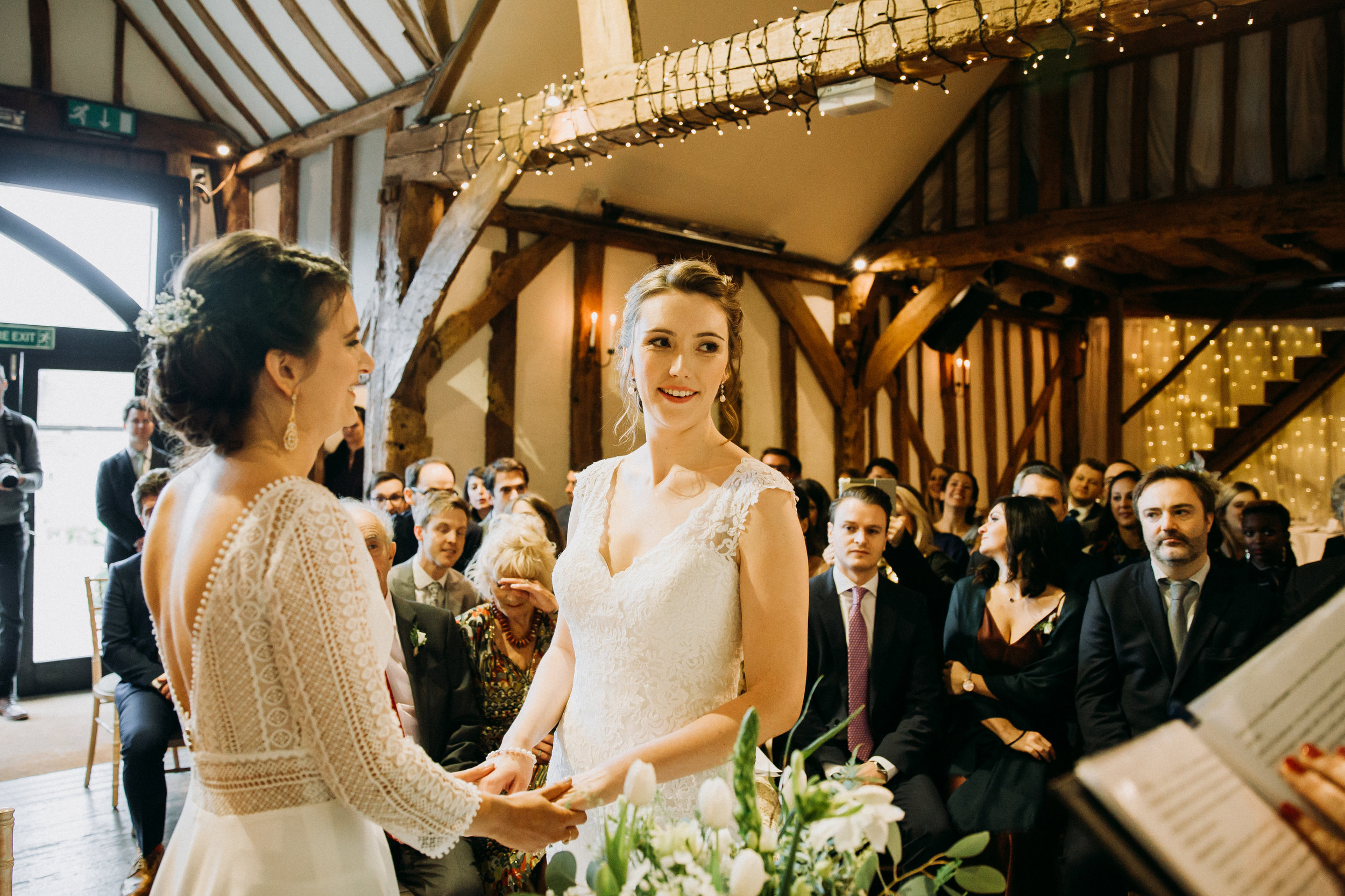 Vanessa & Hannah wedding ceremony at Old Luxter's Barn at The Chilterns wedding