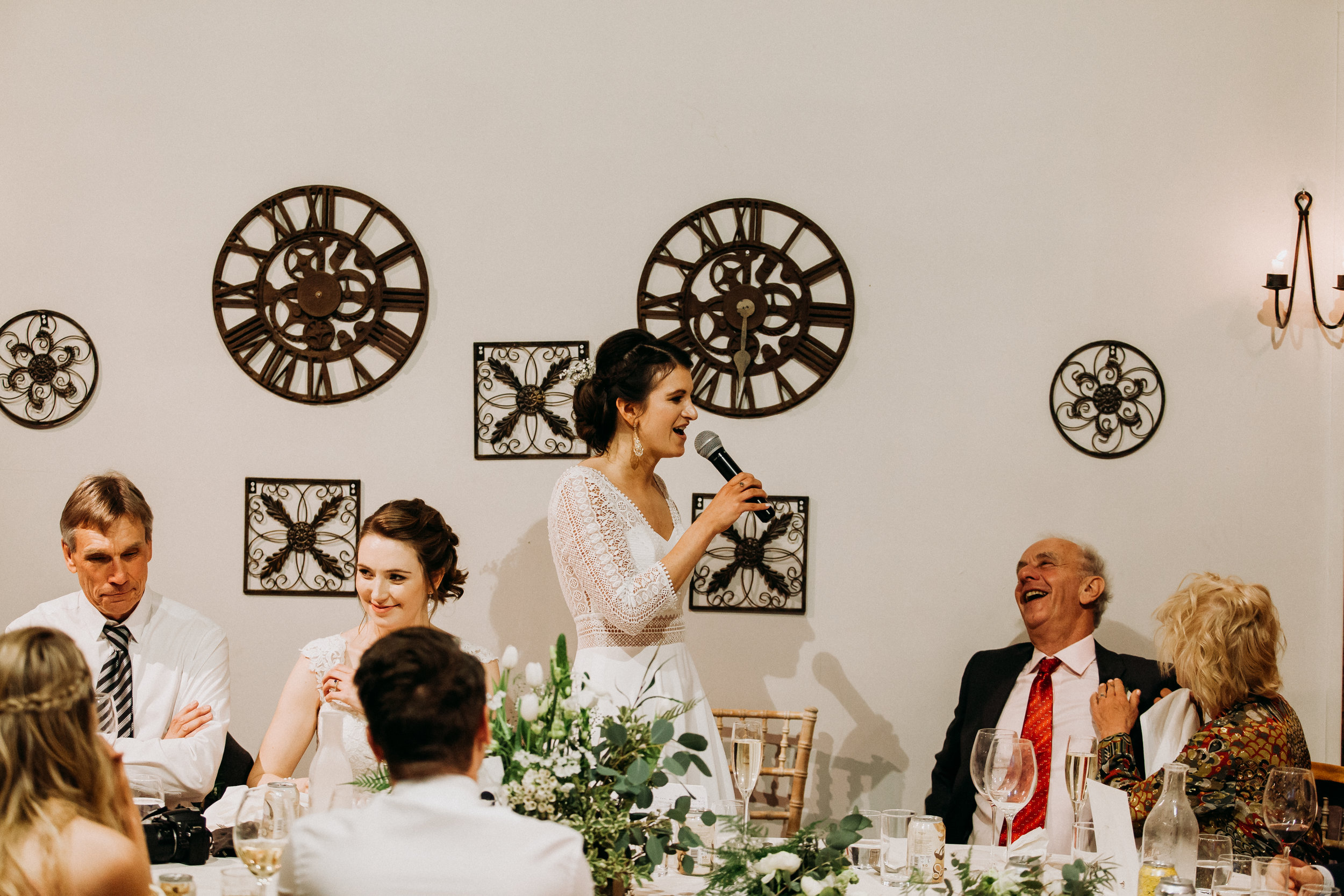 Brides Speech at Old Luxter's Barn in Chiltern Winery