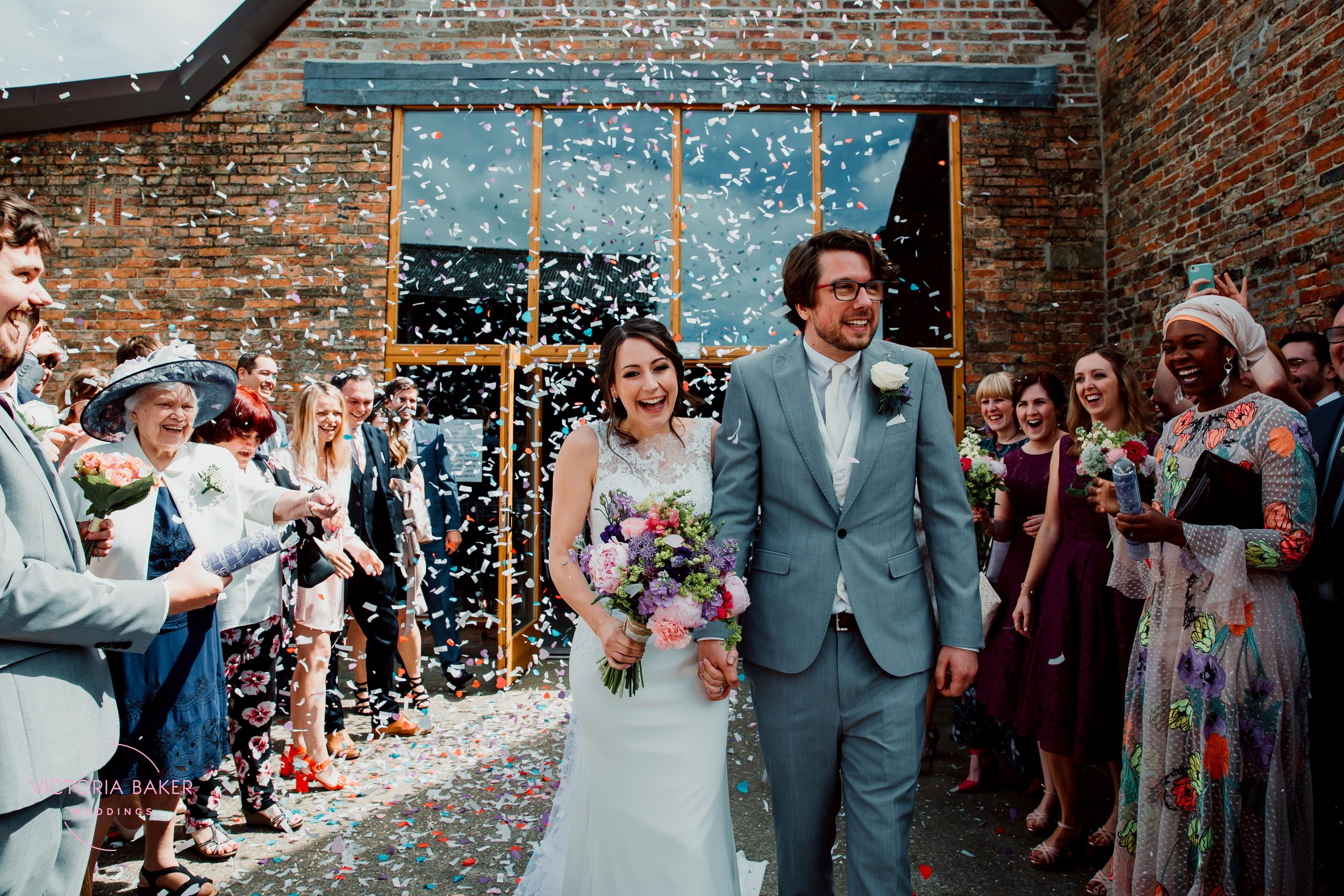 Confetti shot at Barmbyfield Barn York Wedding