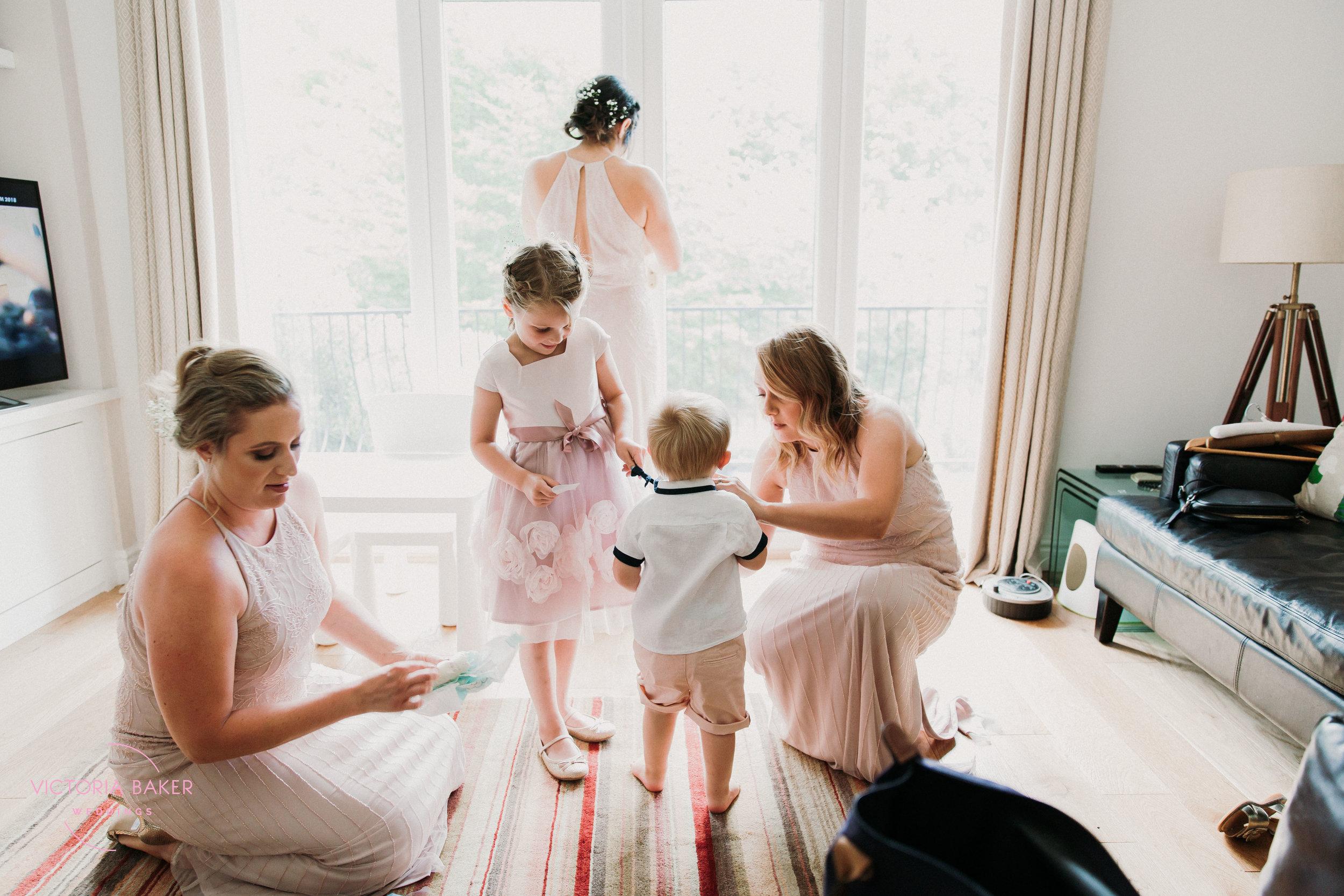 Getting ready Emily & Adam Woodland Sheffield Wedding