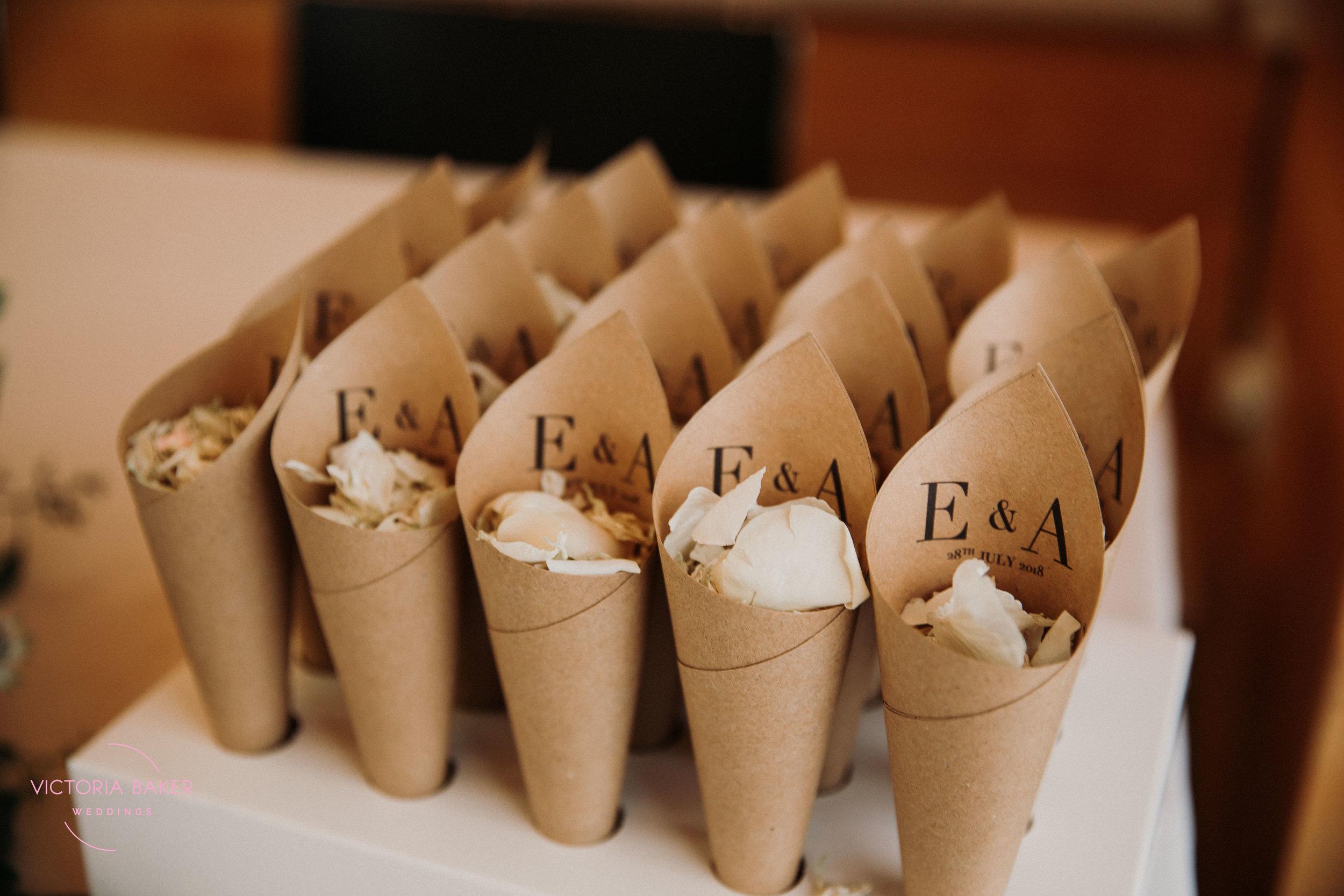 Confetti at Emily & Adam Woodland Sheffield Wedding