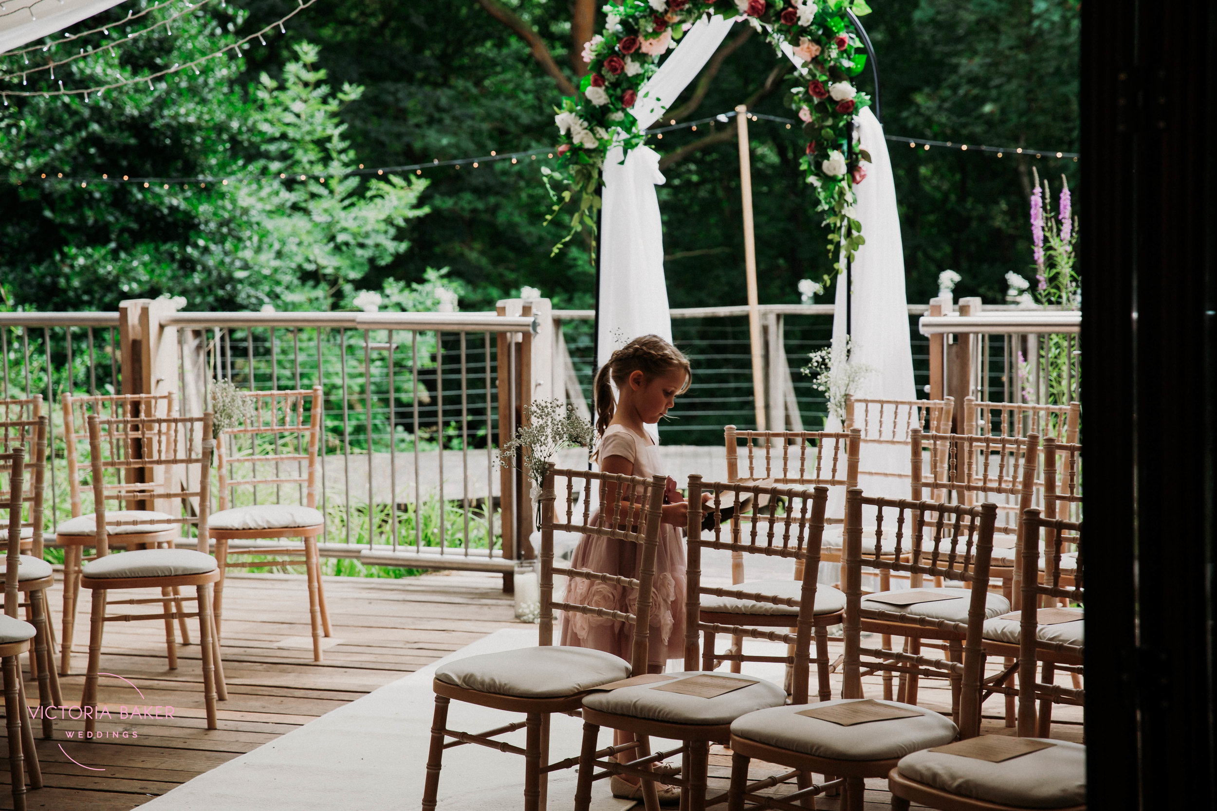Flower girl at Emily & Adam Woodland Sheffield Wedding