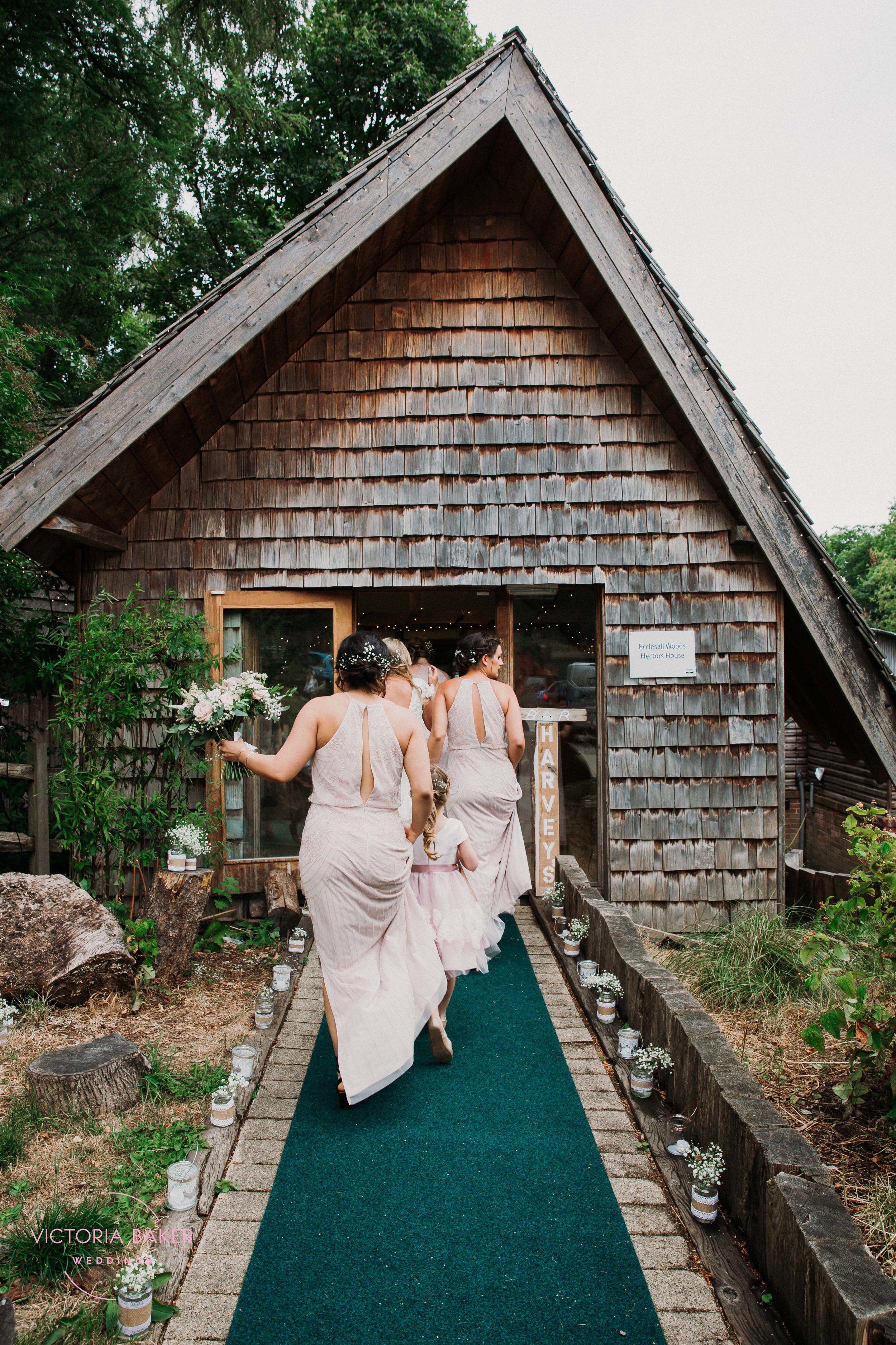 Bridesmaids arriving at Emily & Adam Woodland Sheffield Wedding
