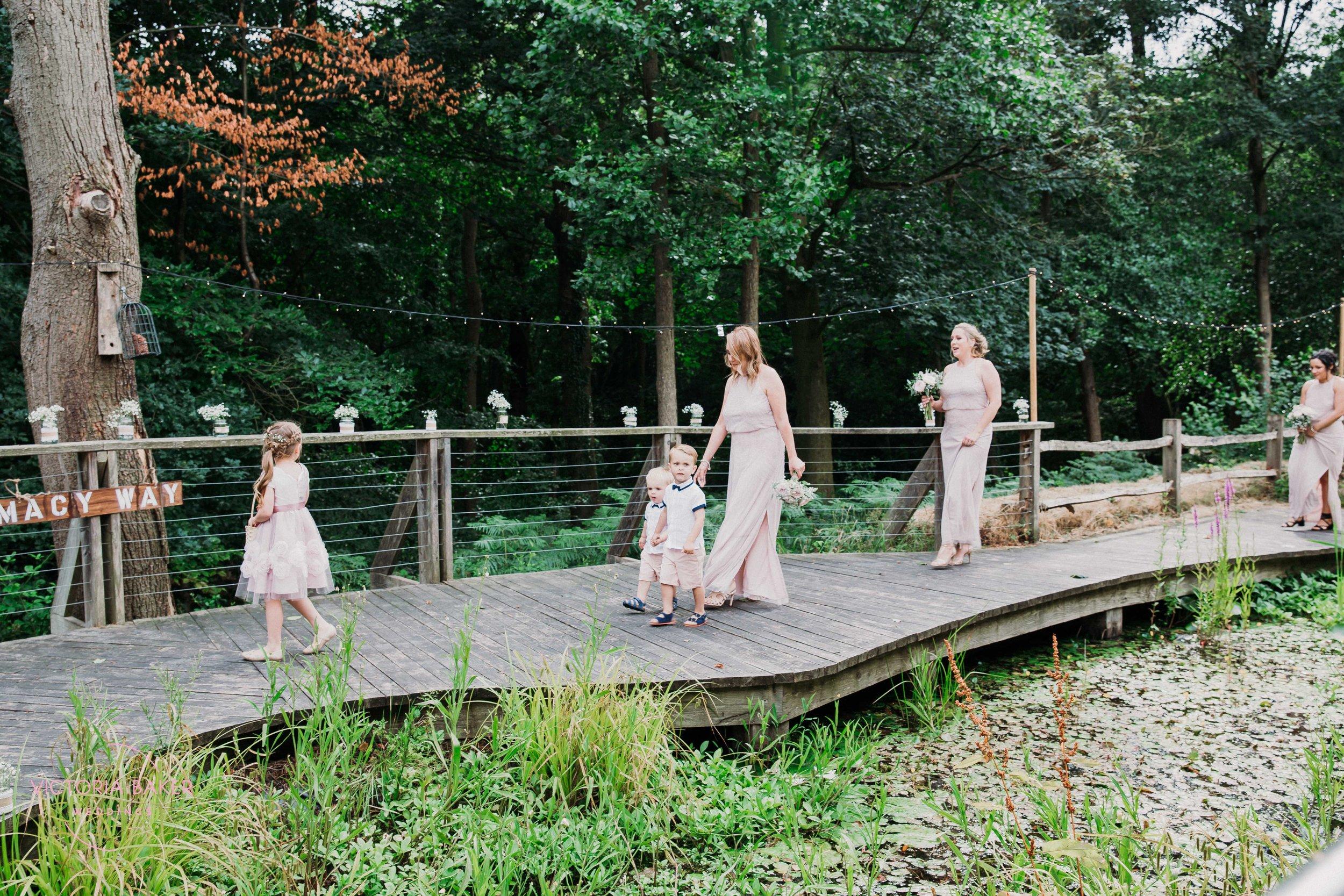 Walking down the woodland aisle Sheffield Wedding