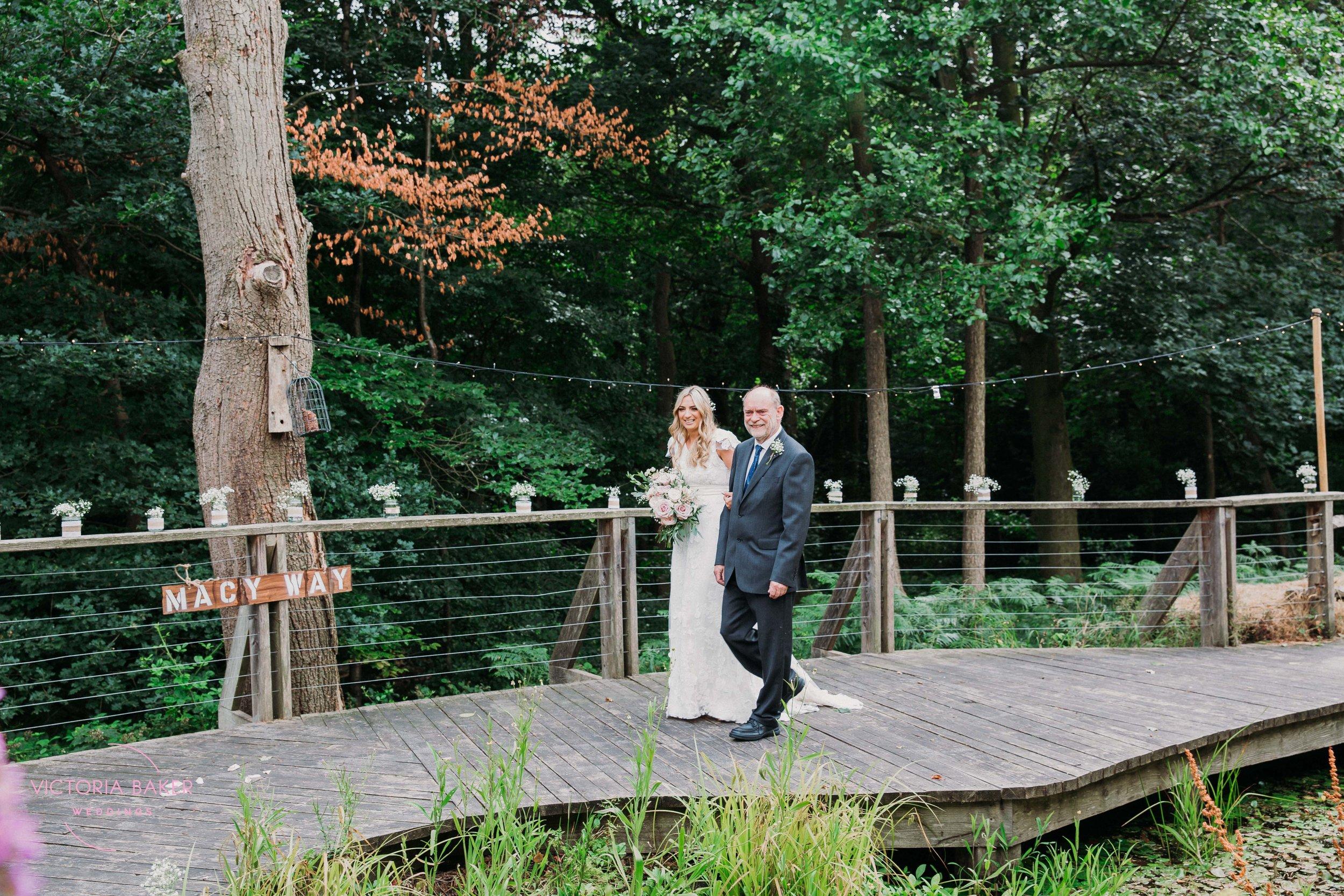 Bride walking down aisle Outdoor Sheffield Wedding