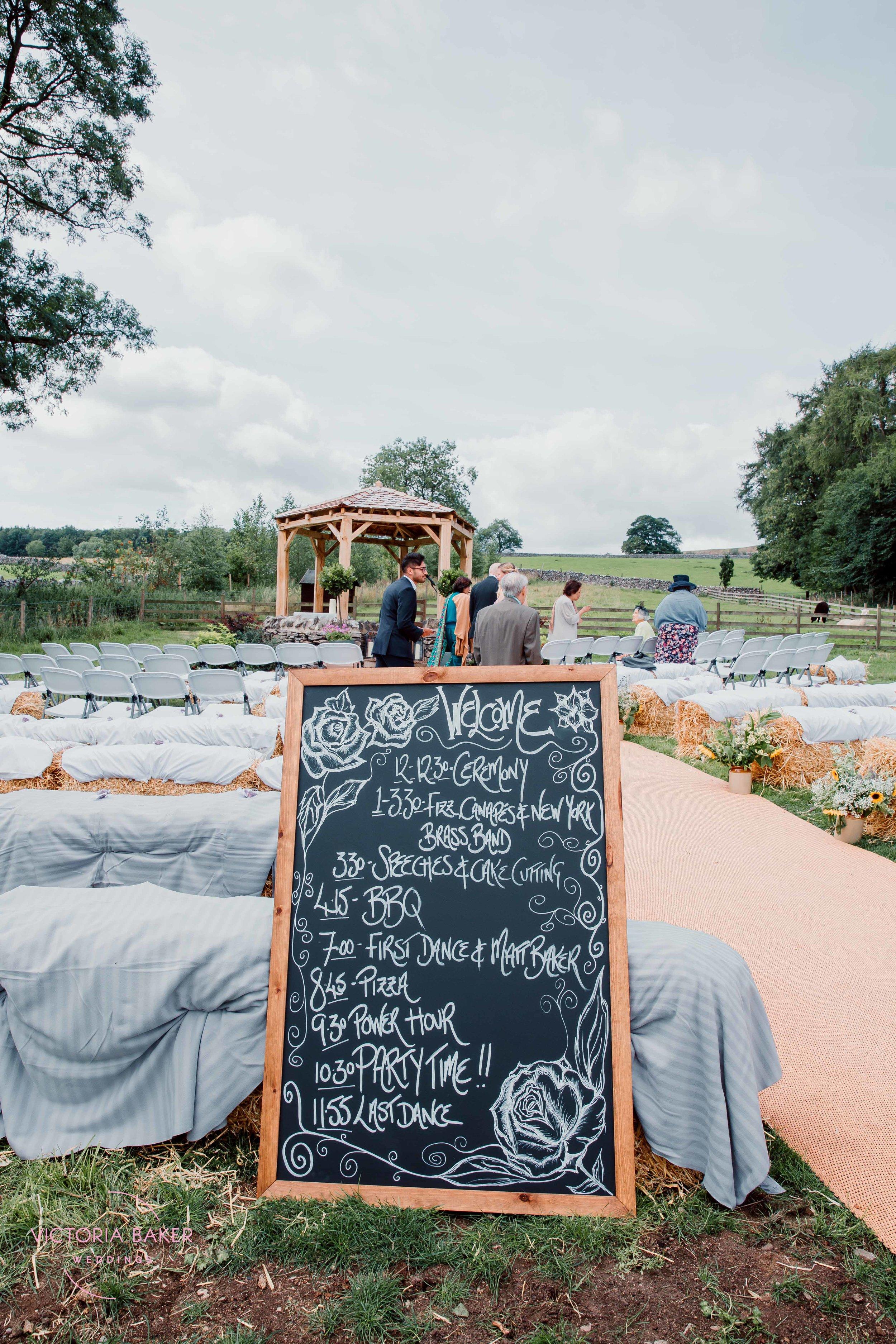 Wedding schedule at Kilnsey Park Estate Wedding Photography