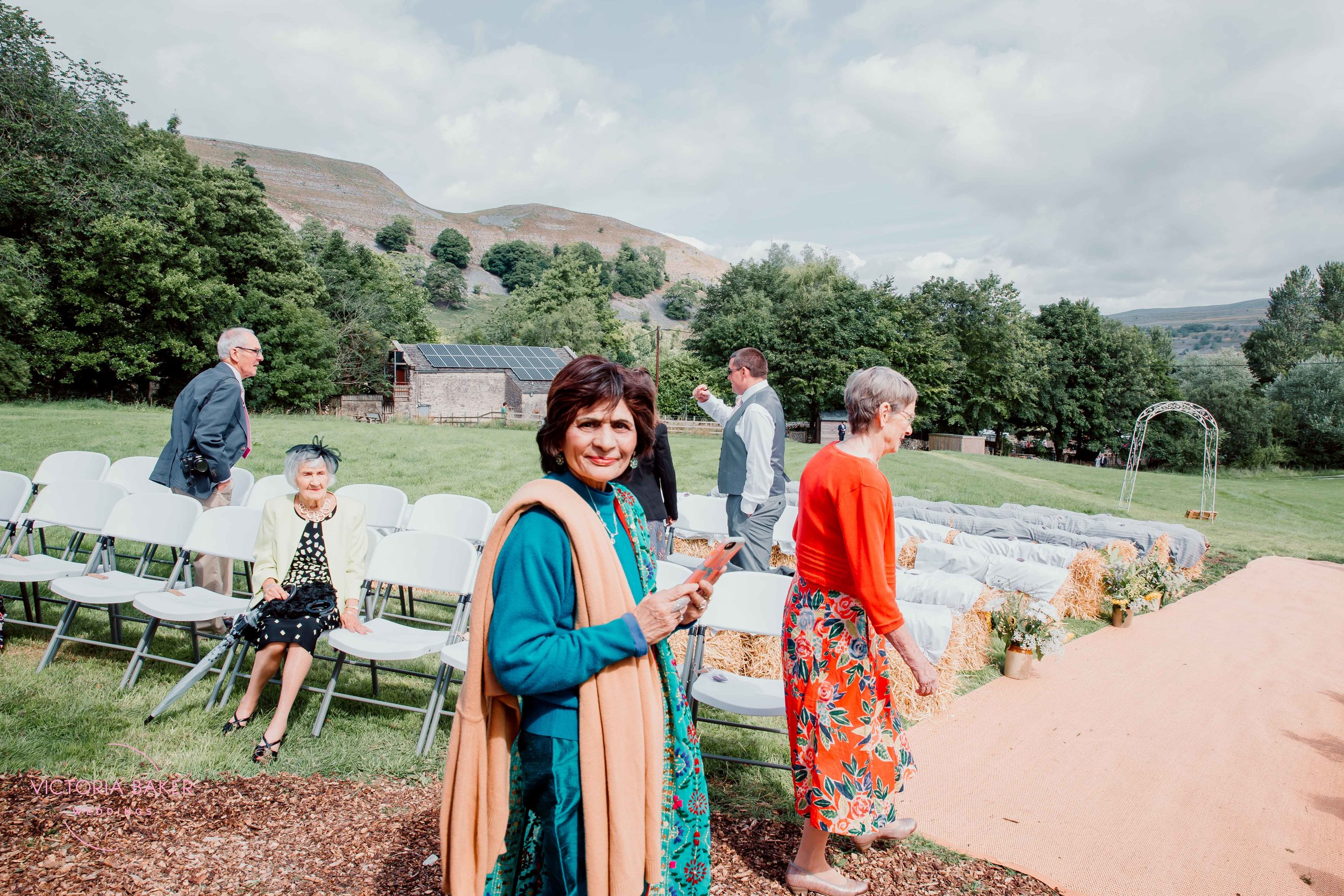 Guests arriving at Kilnsey Park Estate Wedding Photography
