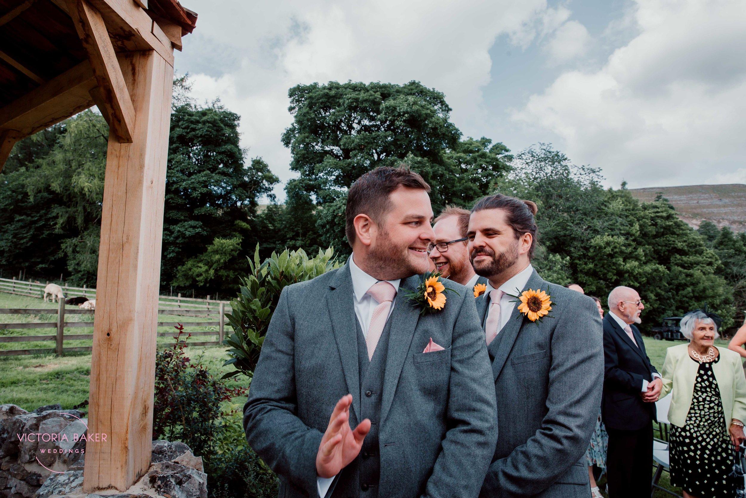 Groom seeing bride at Kilnsey Park Estate Wedding Photography