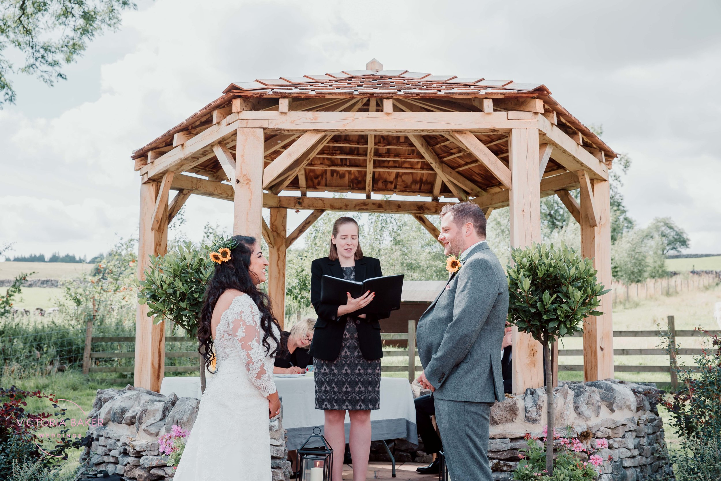 Outdoor wedding ceremony at Kilnsey Park Estate Wedding Photography