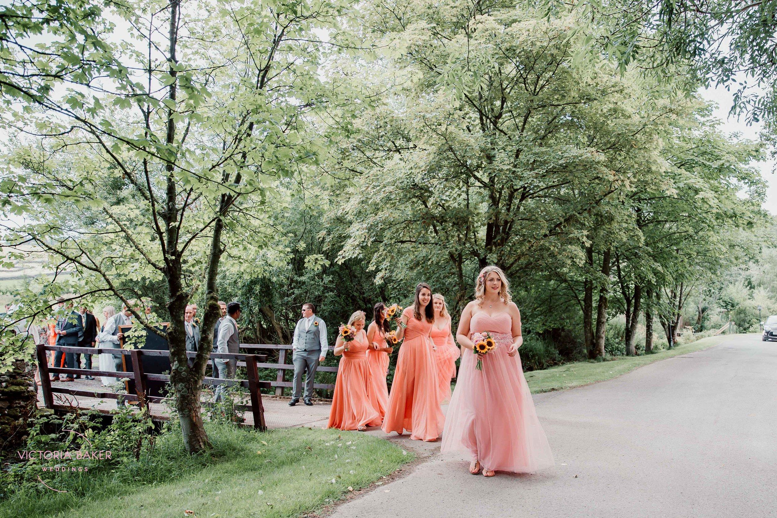 Wedding procession at Kilnsey Park Estate