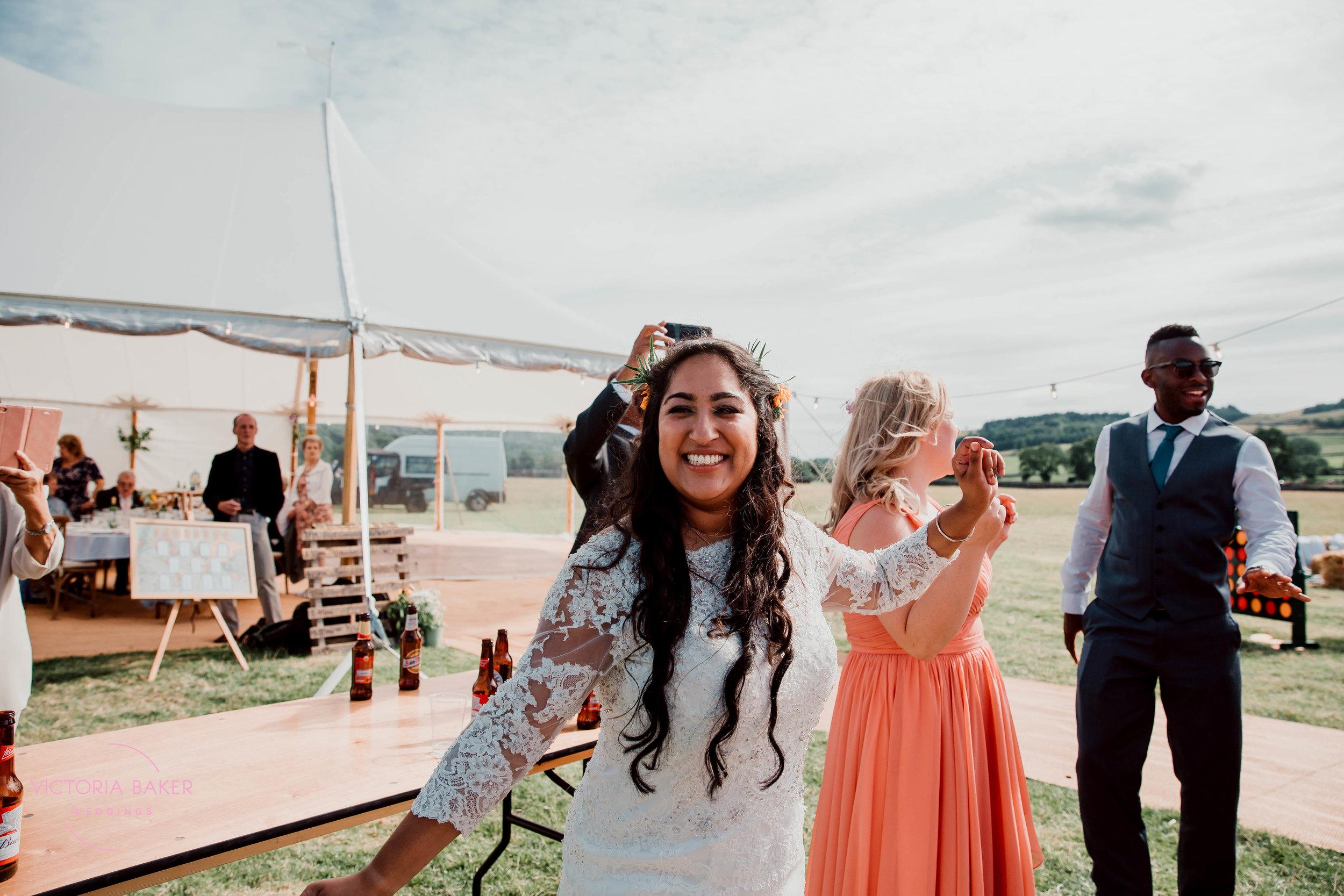 Dancing bride at Kilnsey Park Estate