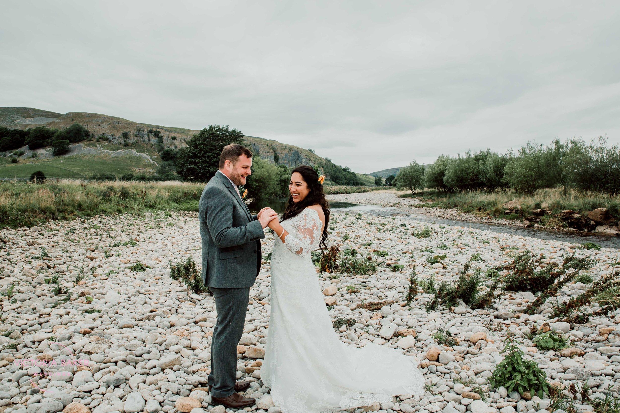 Bride and Groom at Kilnsey Park Estate