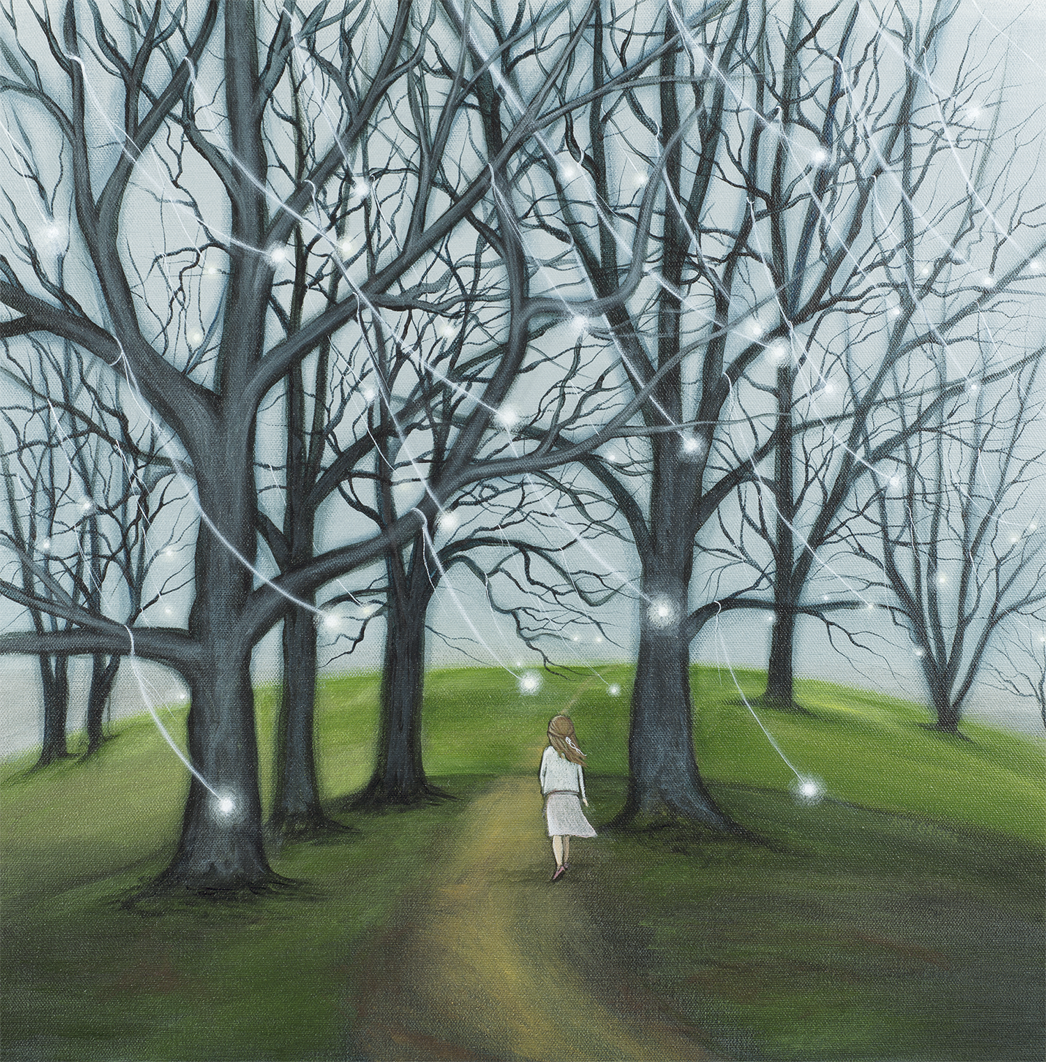 UNDER THE SLEEPING TREES 20X20 Acrylic on Gallery Canvas SOLD  The girl in this painting is a believer. She believes that Spring is coming—that the trees are not dead but only sleeping. And so she walks, sometimes boldly and other times timidly, always in the light of the promise of Spring.