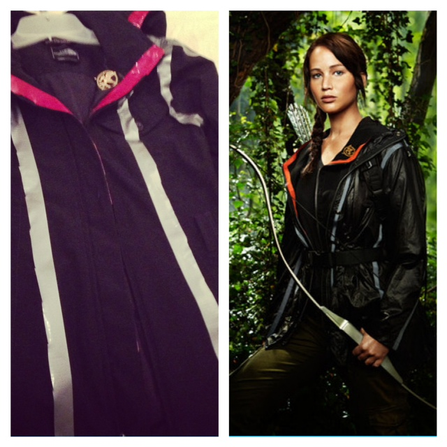 The left is my black rain jacket Jason turned into the costume.  On the right, the actual Katniss character in costume.