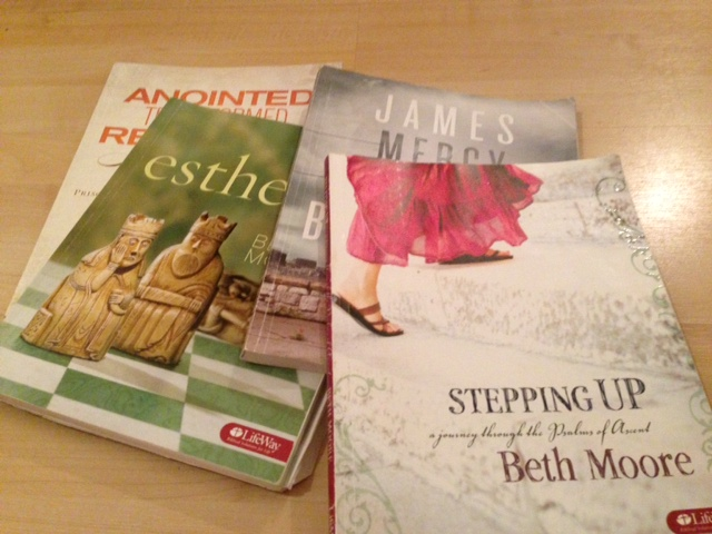A few of the Beth Moore studies I've done. Starting her Daniel study this fall!