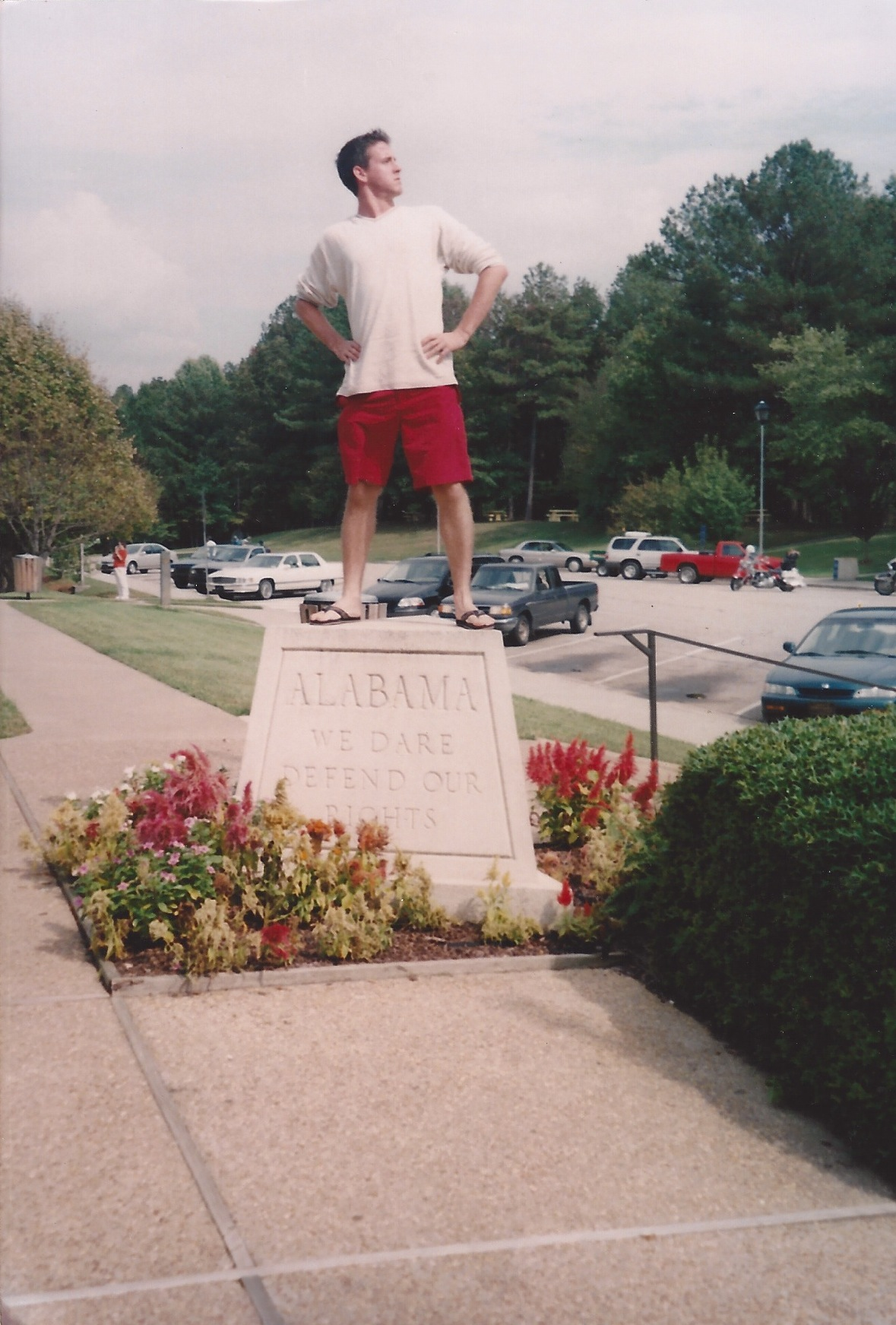 At the Alabama state line welcome center. Jason was showing a posture of defense.