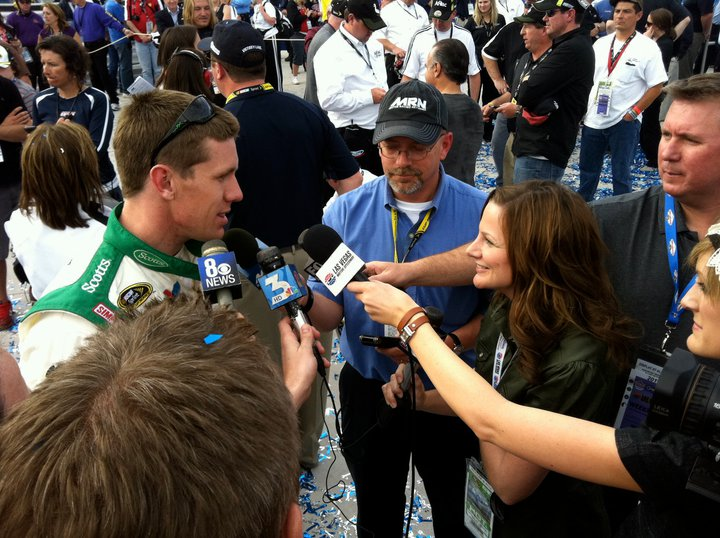 Such powerful hair extensions this Nascar driver only has answers for my questions. (Not really, but saying so makes a reporter feel special.)