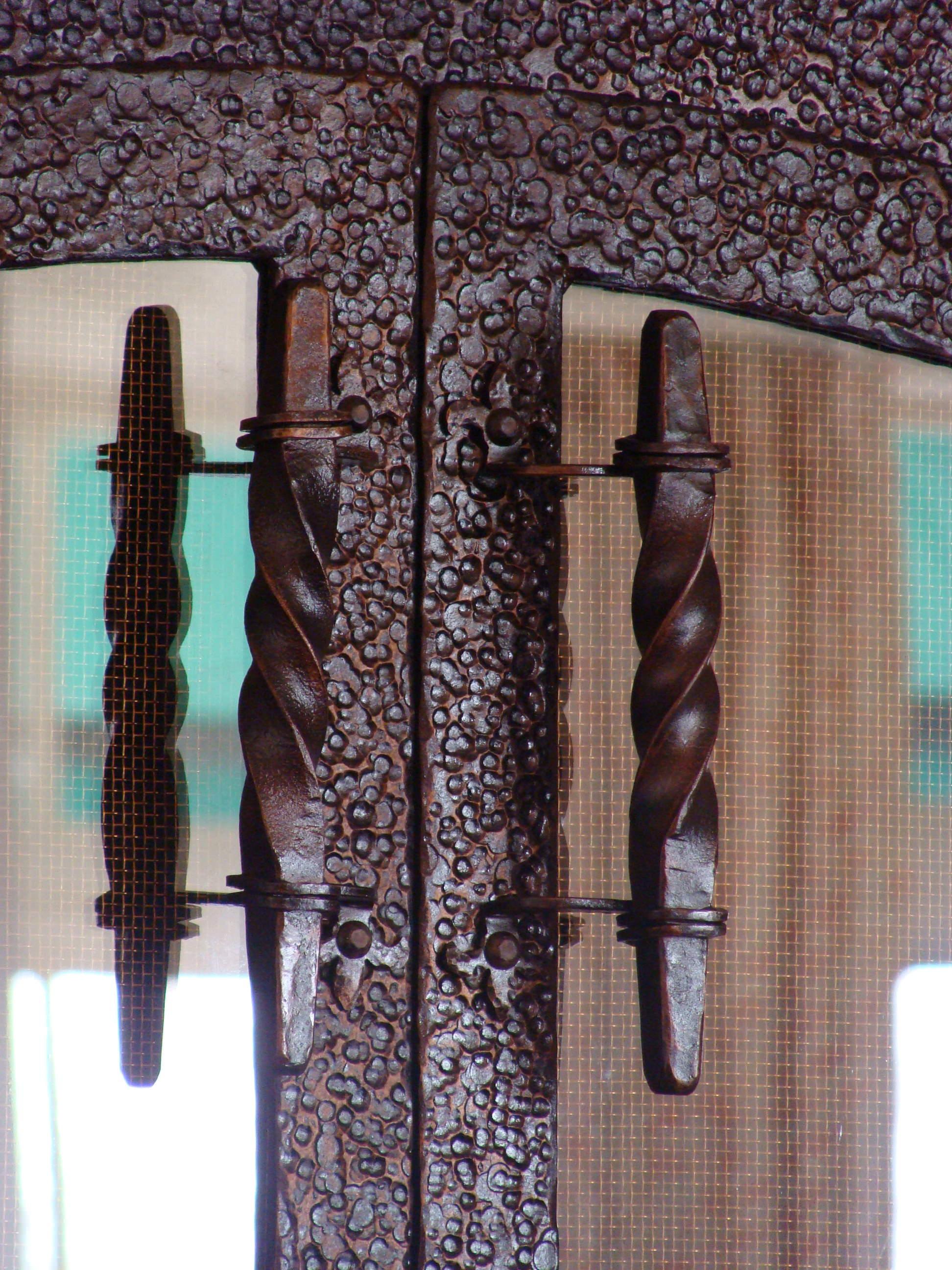 Custom hand-forged fireplace handles
