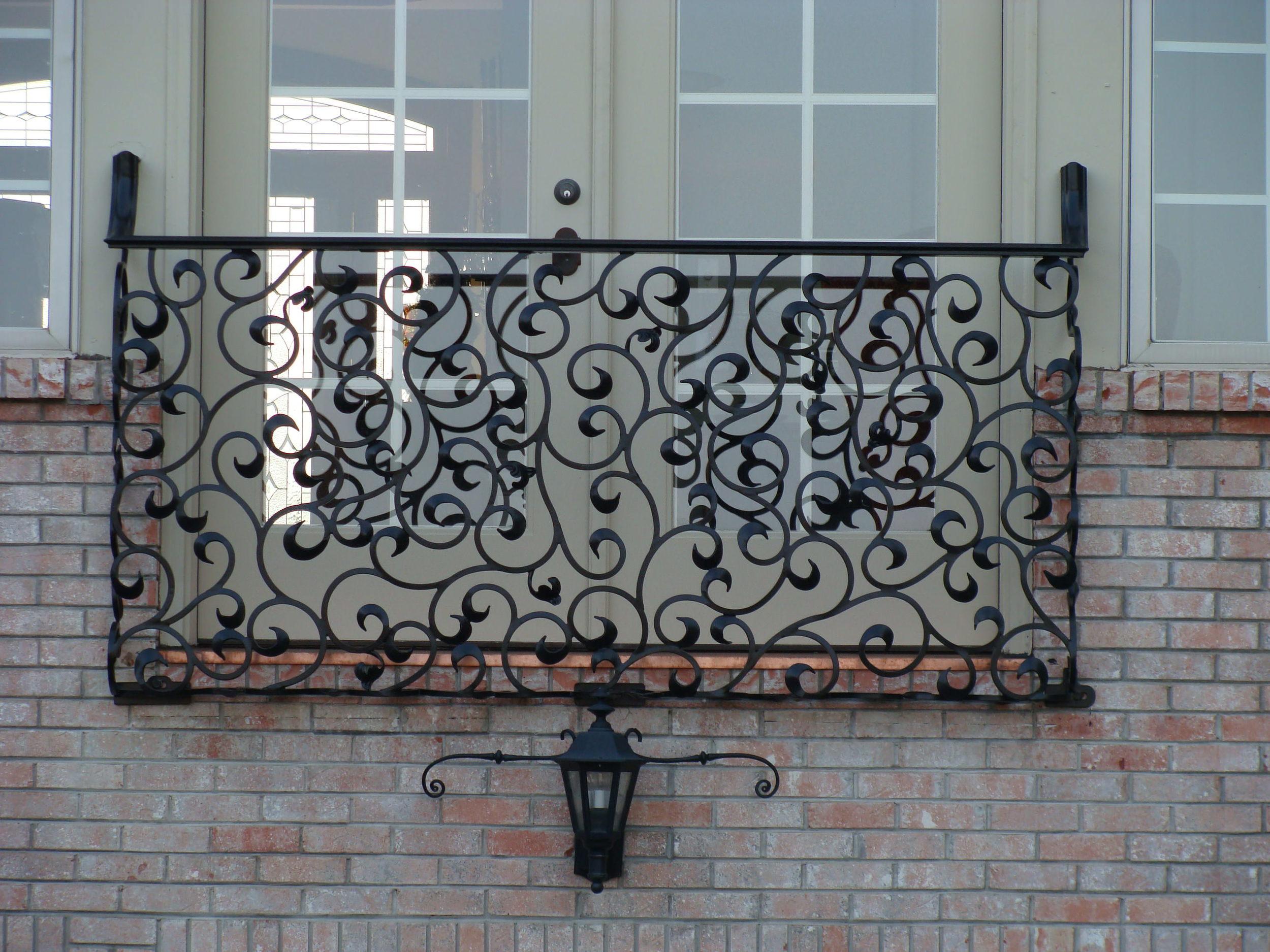 Custom iron Juliet balcony railing