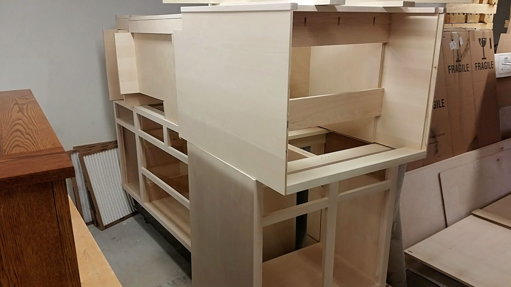 Kitchen island with pantry laying on top.