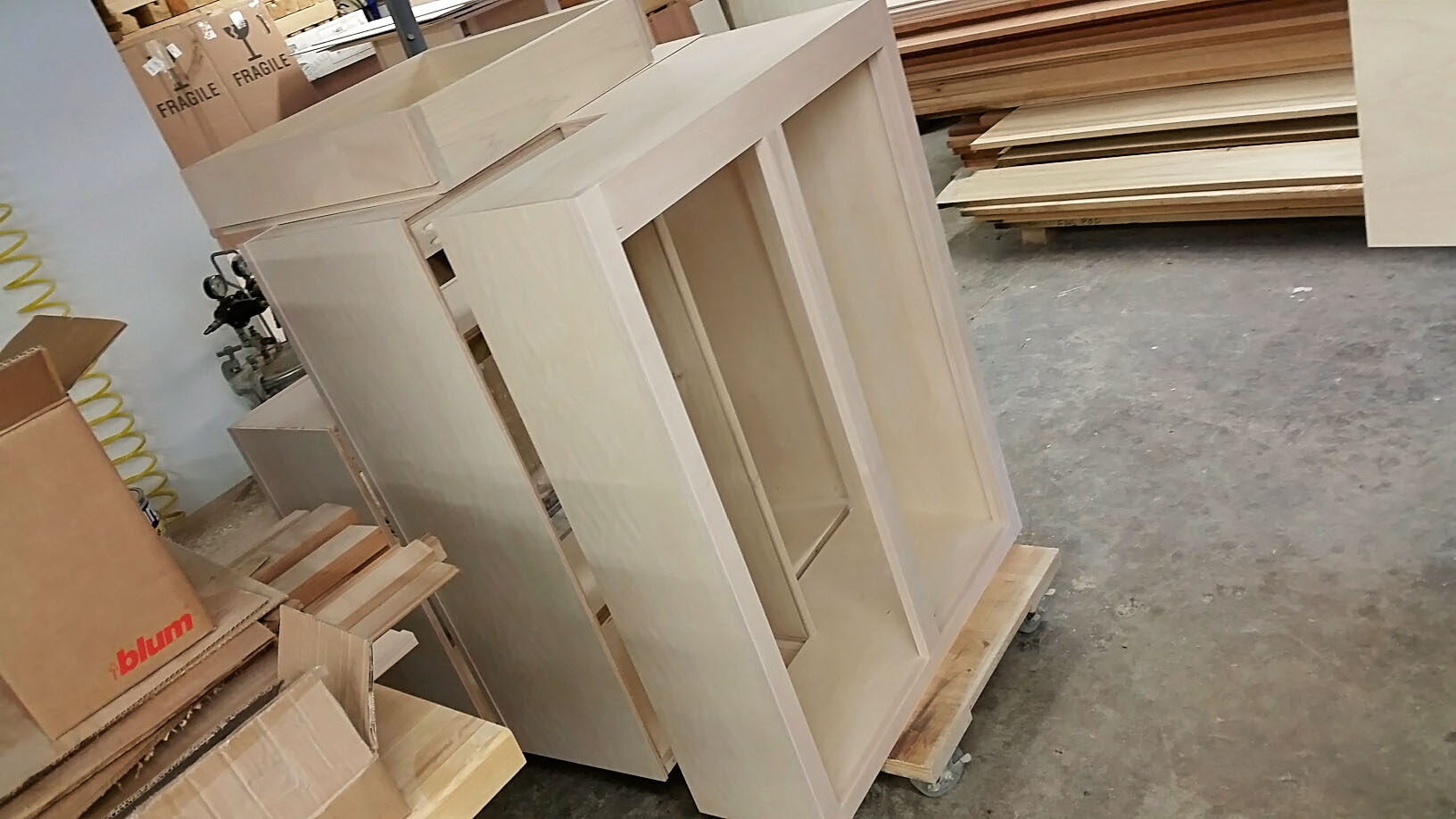 Cabinets ready for the paint booth